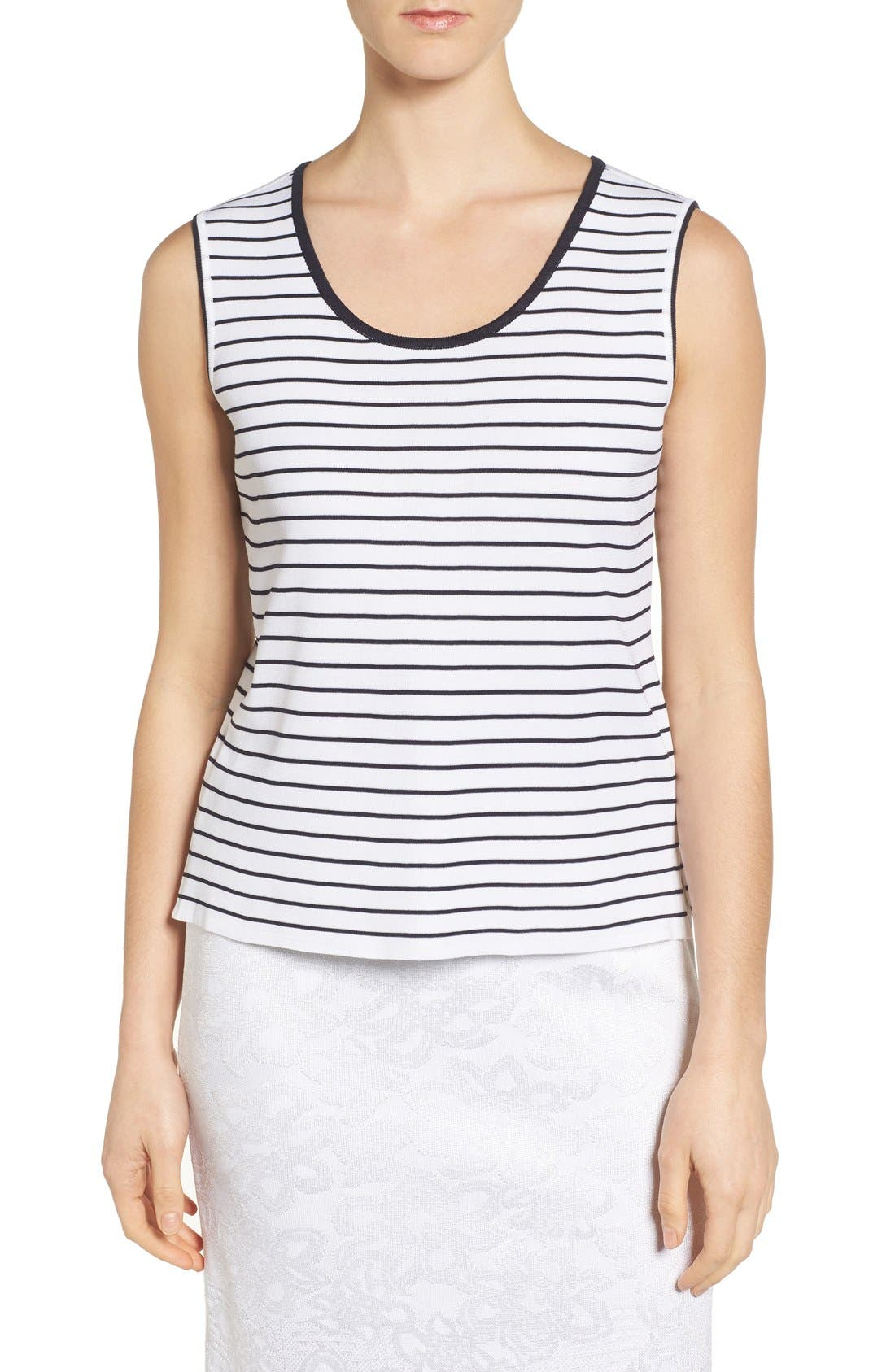 MING WANG Stripe Tipped Tank