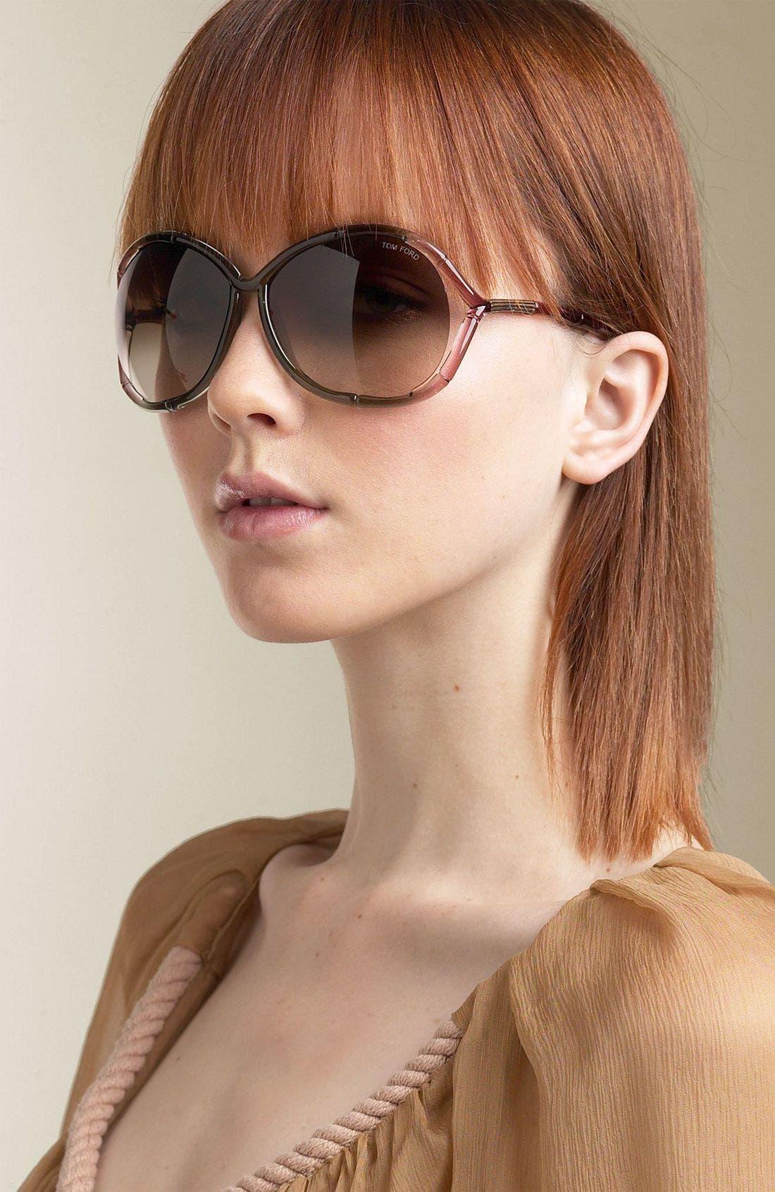 Alternate Image 1 Selected - Tom Ford Oversized Dégradé Bamboo Frame Sunglasses