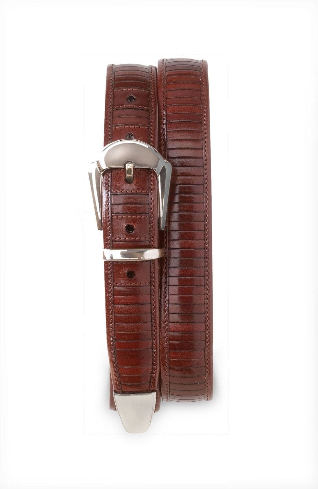 Alternate Image 1 Selected - Mezlan Silver Buckle Leather Belt