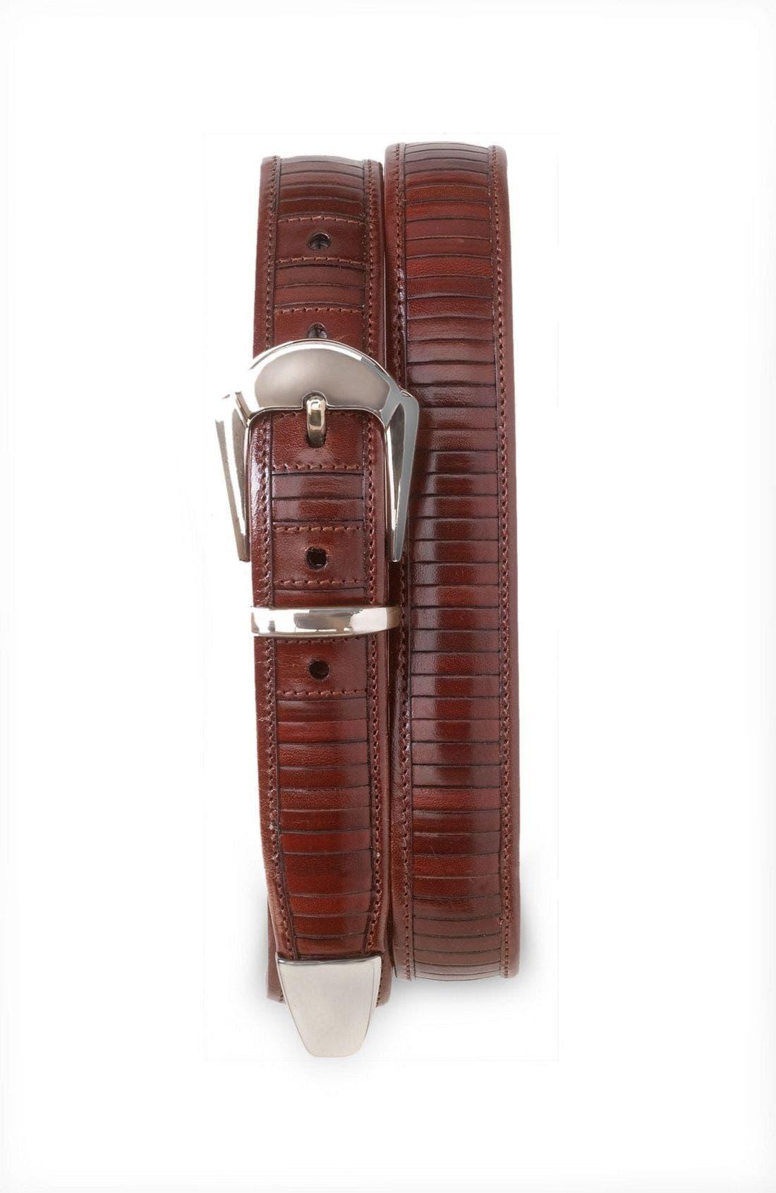 Alternate Image 1 Selected - Mezlan Silver Buckle Leather Belt