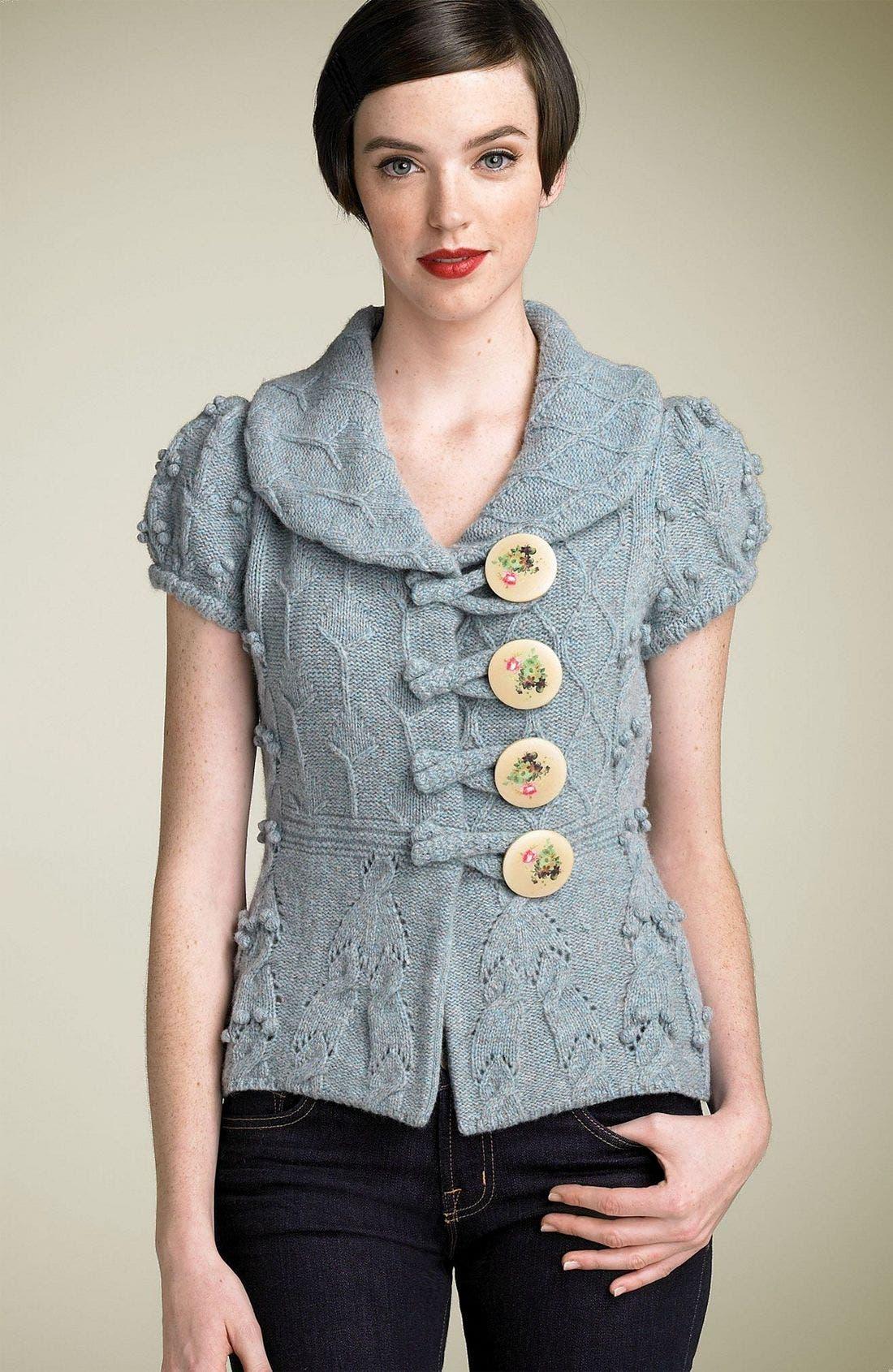 Main Image - Leifsdottir Painted Button Mélange Sweater