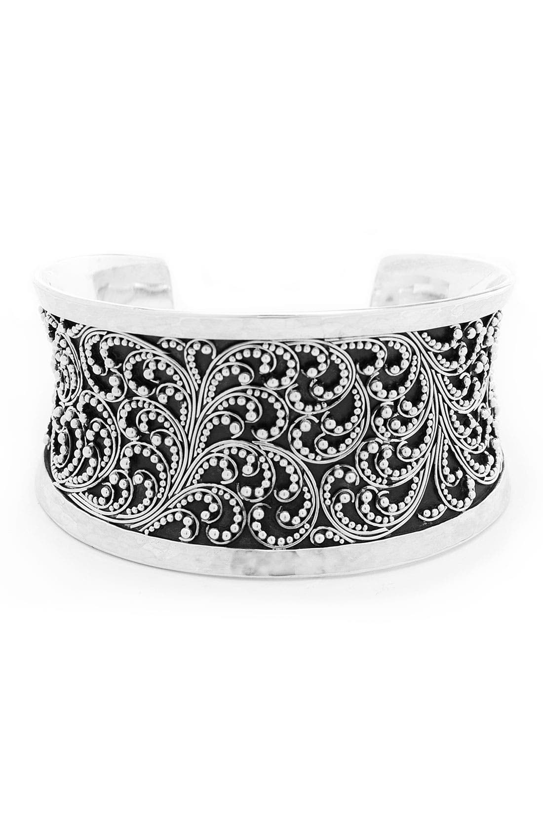 Alternate Image 1 Selected - Lois Hill Granulated Hammered Silver Cuff Bracelet