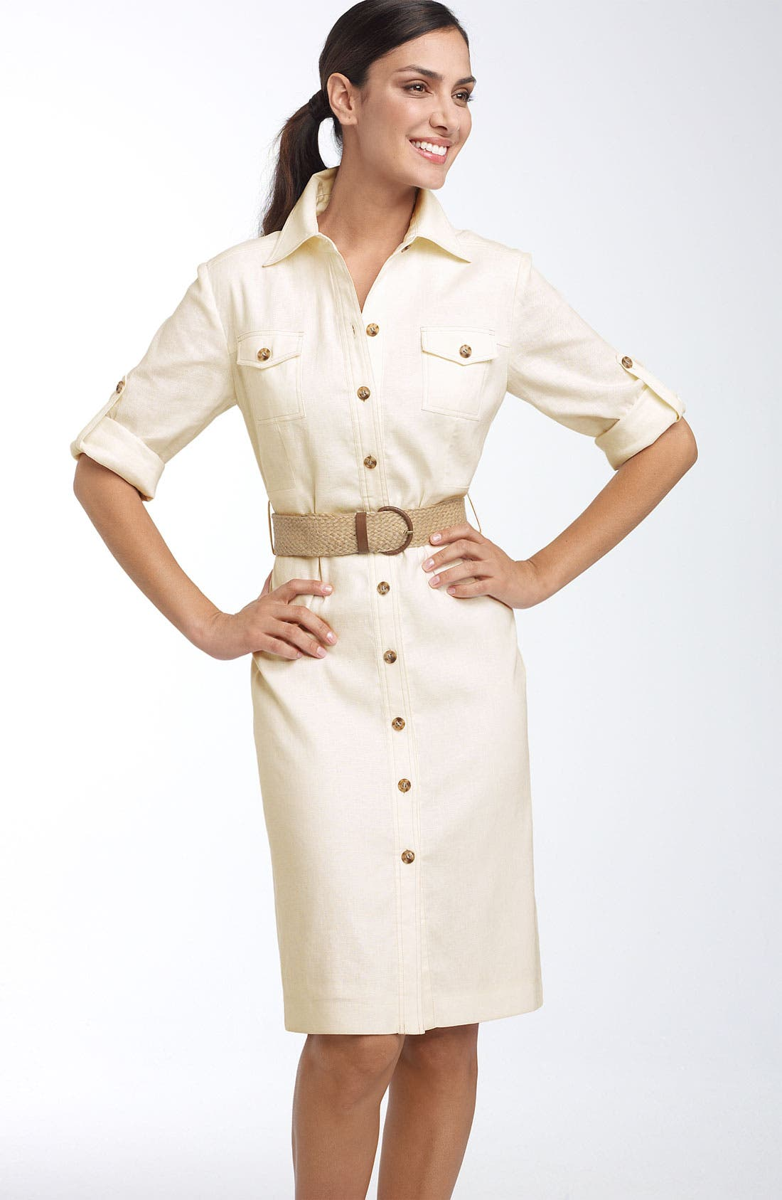 Main Image - Tahari by Arthur S. Levine Belted Stretch Linen Shirtdress