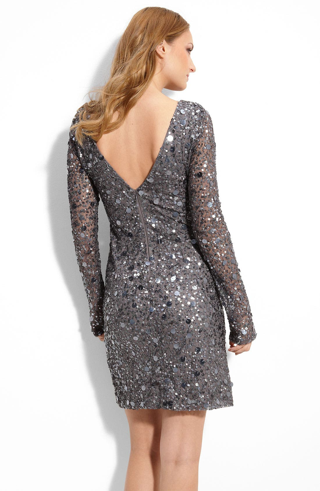 Alternate Image 2  - Aidan Mattox Sequined Mesh Sheath Dress