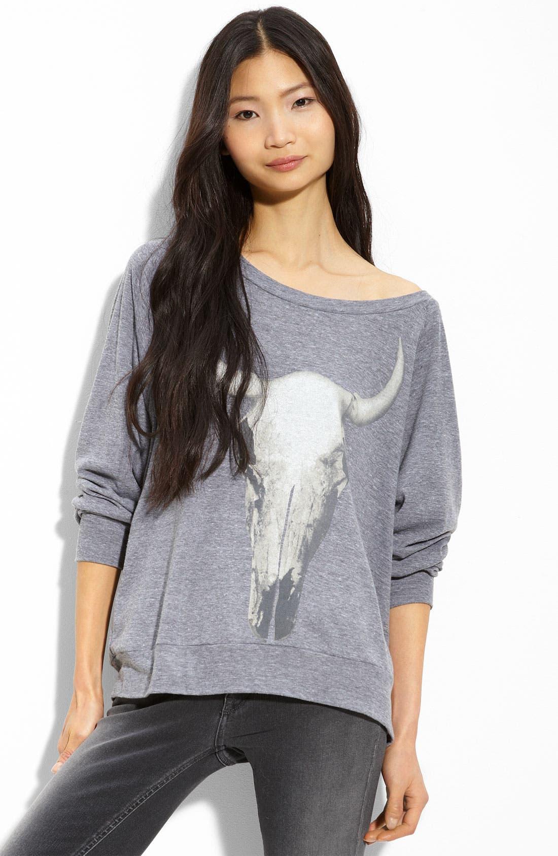 Main Image - Haute Hippie Longhorn Skull Sweatshirt