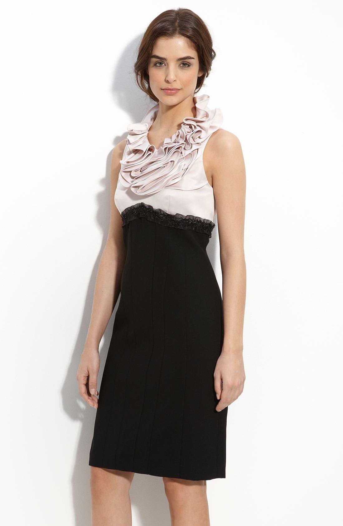 Main Image - JS Collections Ruffle Neck Satin & Crepe Sheath Dress