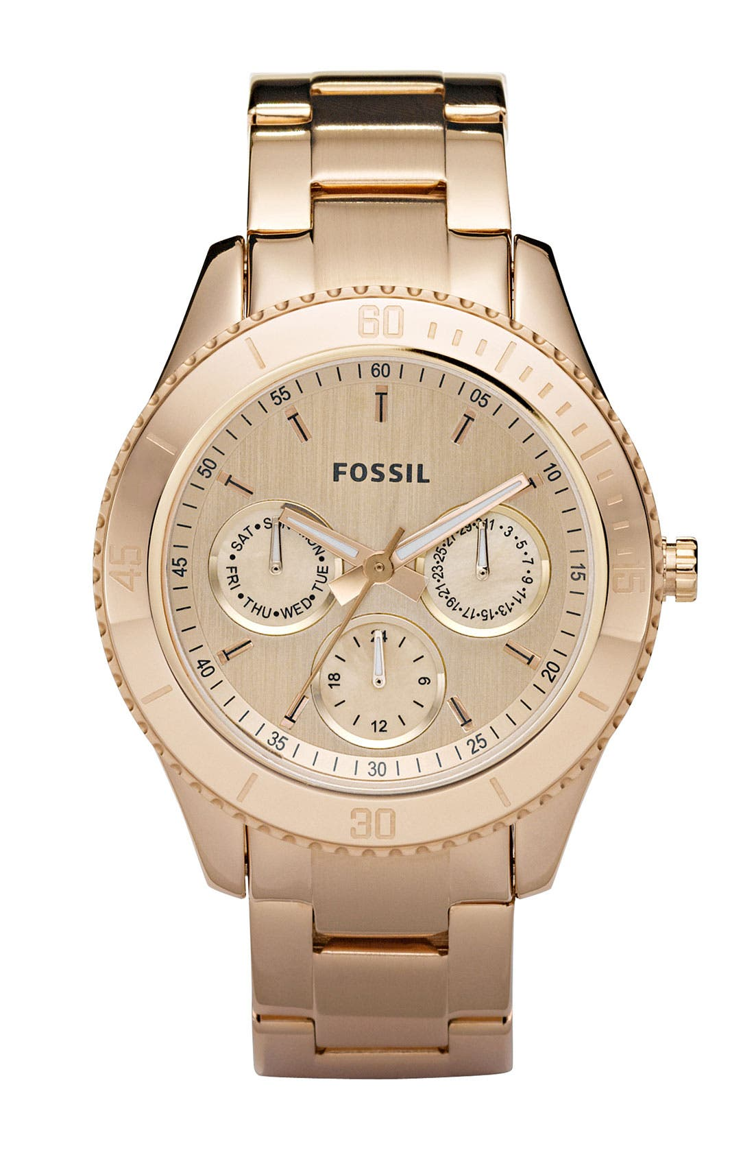 Main Image - Fossil 'Stella' Rose Gold Multifunction Watch, 37mm