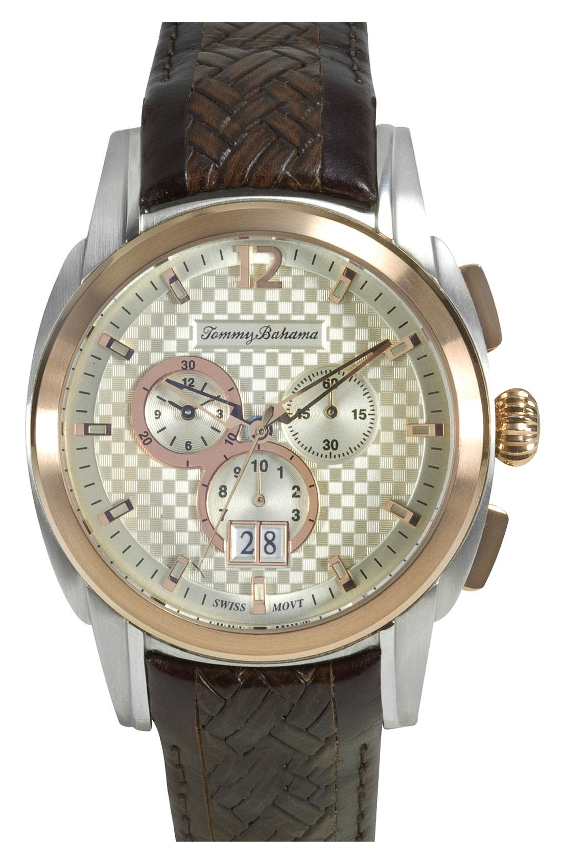 Alternate Image 1 Selected - Tommy Bahama Two Tone Chronograph Watch, 43mm
