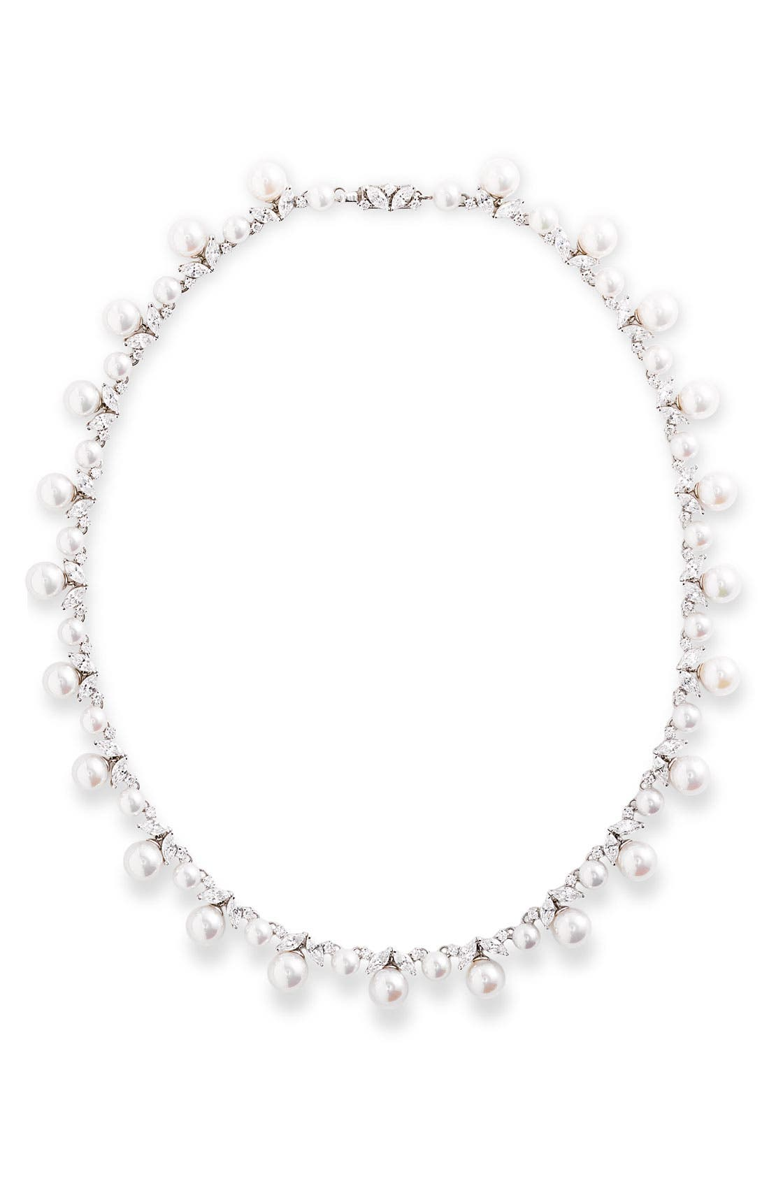 Alternate Image 1 Selected - Majorica 'Ruffle' Pearl & Cubic Zirconia Necklace