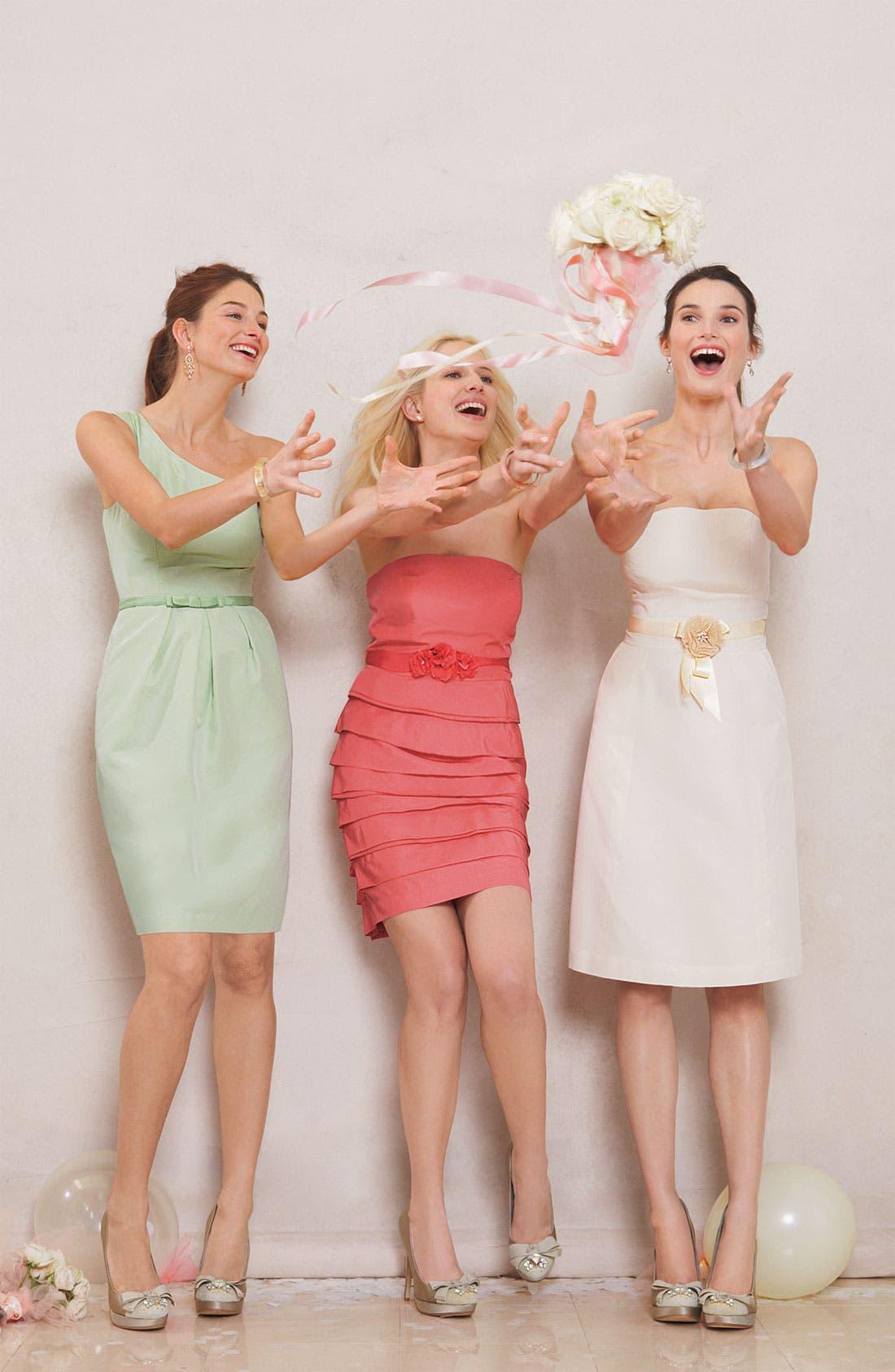 Alternate Image 3  - Glint One Shoulder Faille Dress