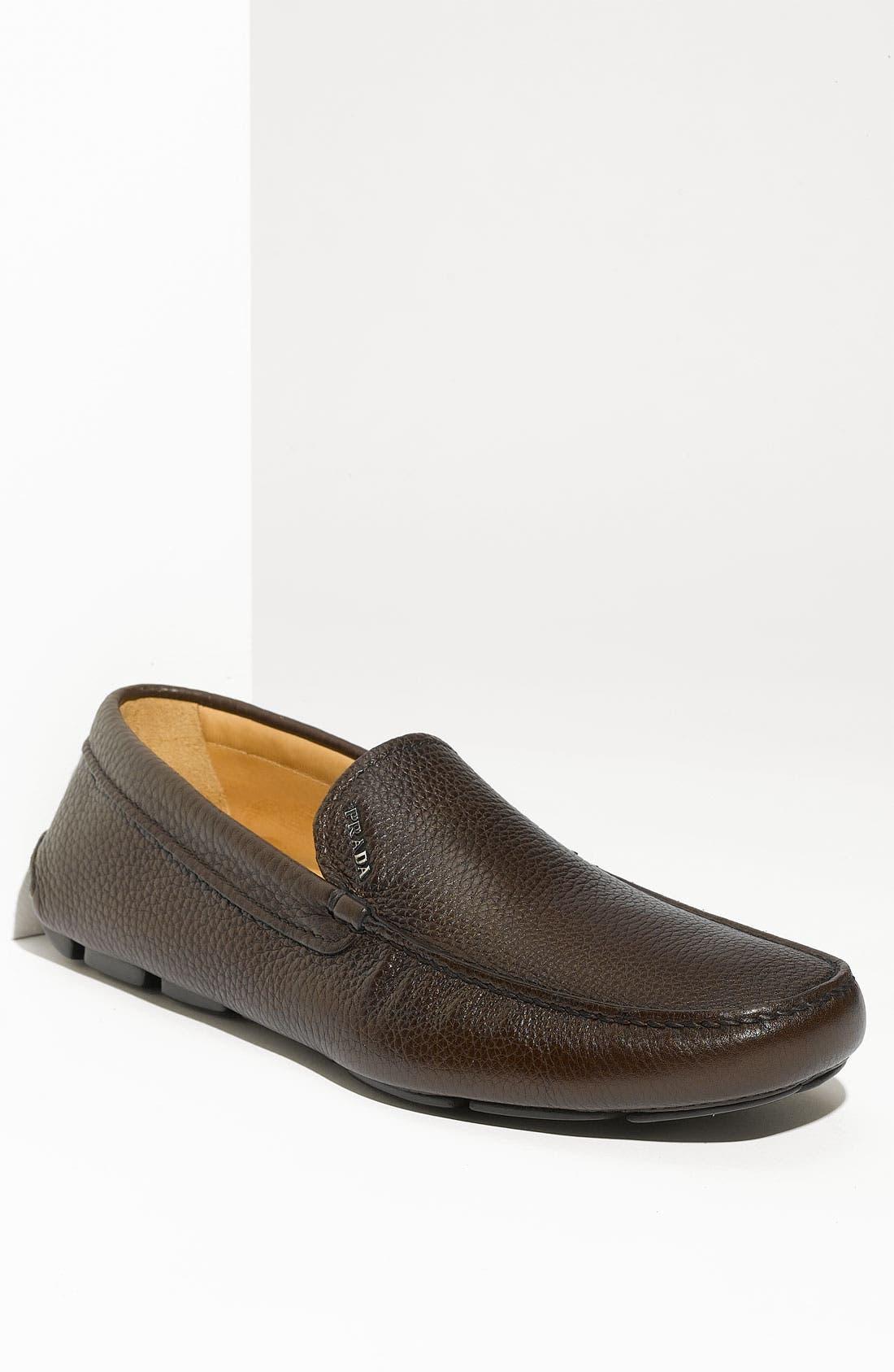 Alternate Image 1 Selected - Prada Pebbled Leather Driving Shoe (Men)