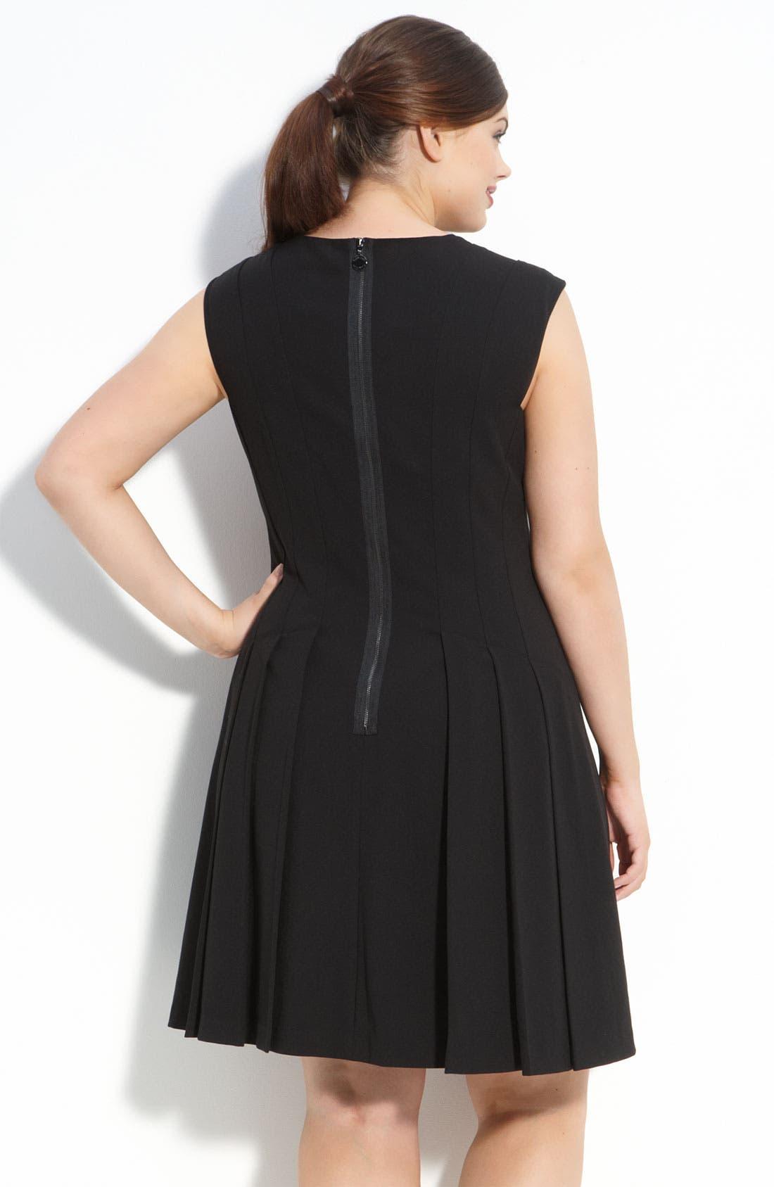 Alternate Image 2  - Calvin Klein Sleeveless V-Neck Dress (Plus)