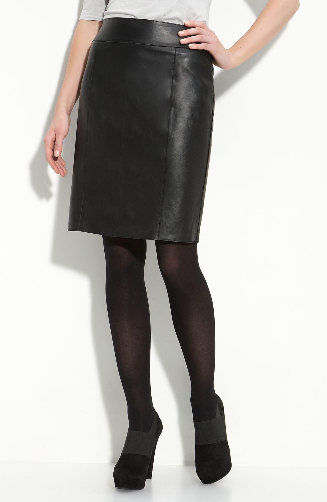 Alternate Image 1 Selected - Halogen® Leather Pencil Skirt