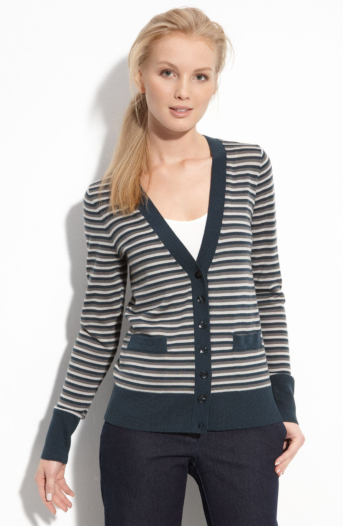 Halogen® Stripe Merino Wool V-Neck Cardigan