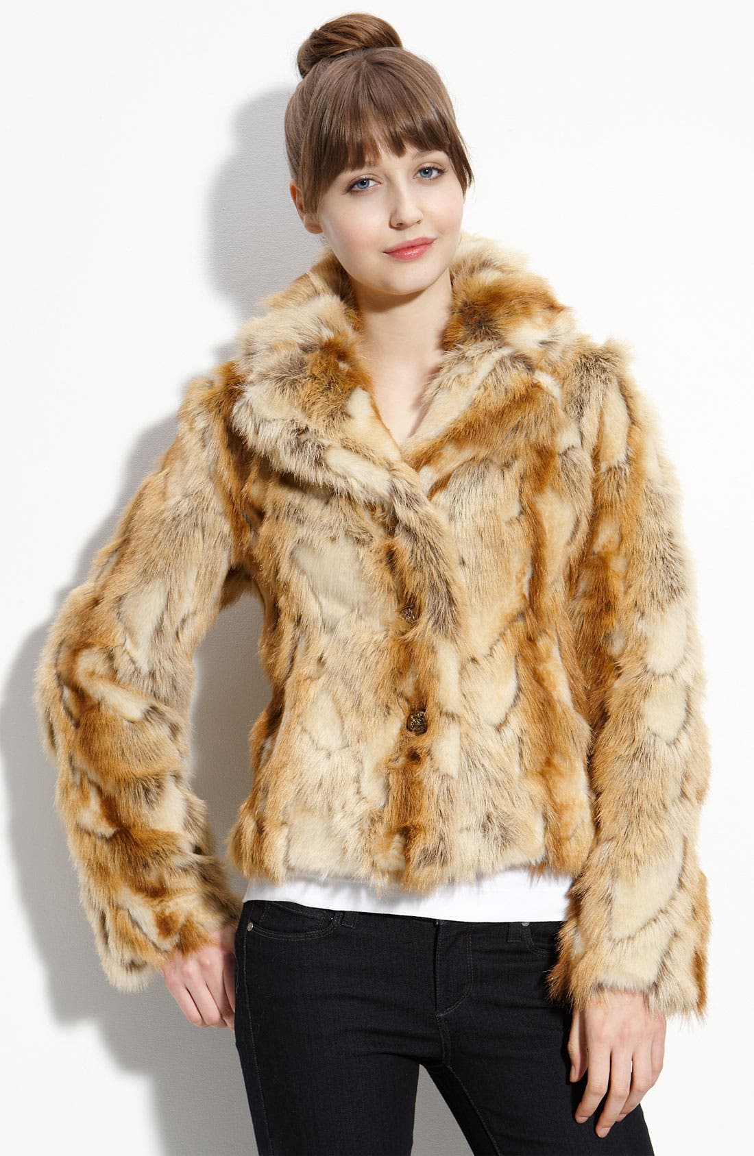 Alternate Image 1 Selected - GUESS Pieced Faux Rabbit Fur Jacket