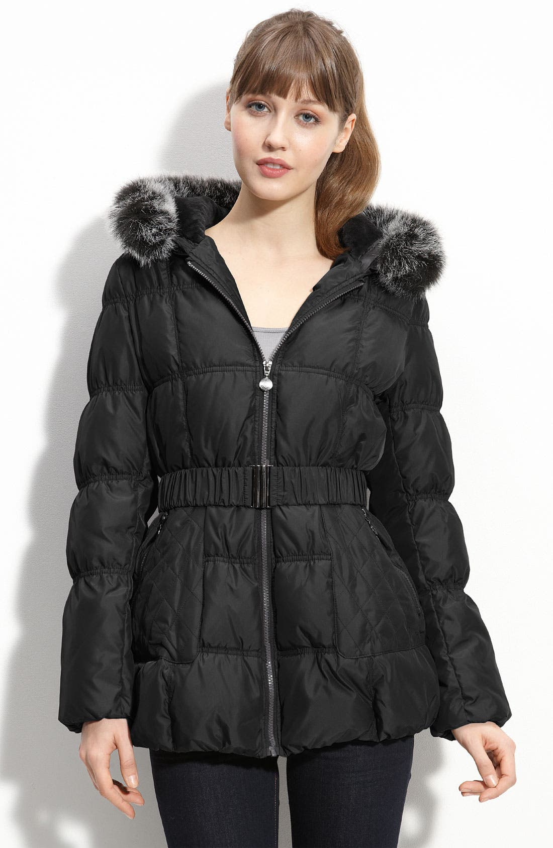Main Image - Betsey Johnson Quilted Parka with Faux Fur Trim