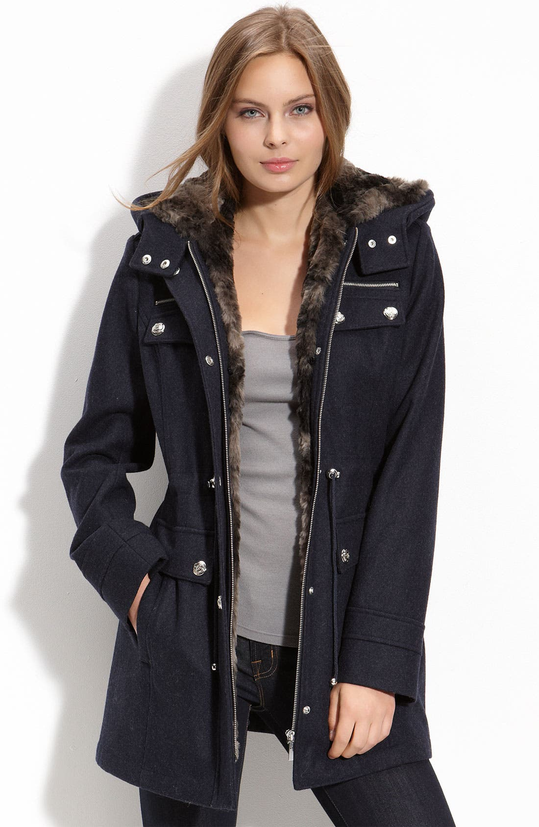Main Image - Laundry by Shelli Segal Wool Blend Anorak with Faux Fur Trim