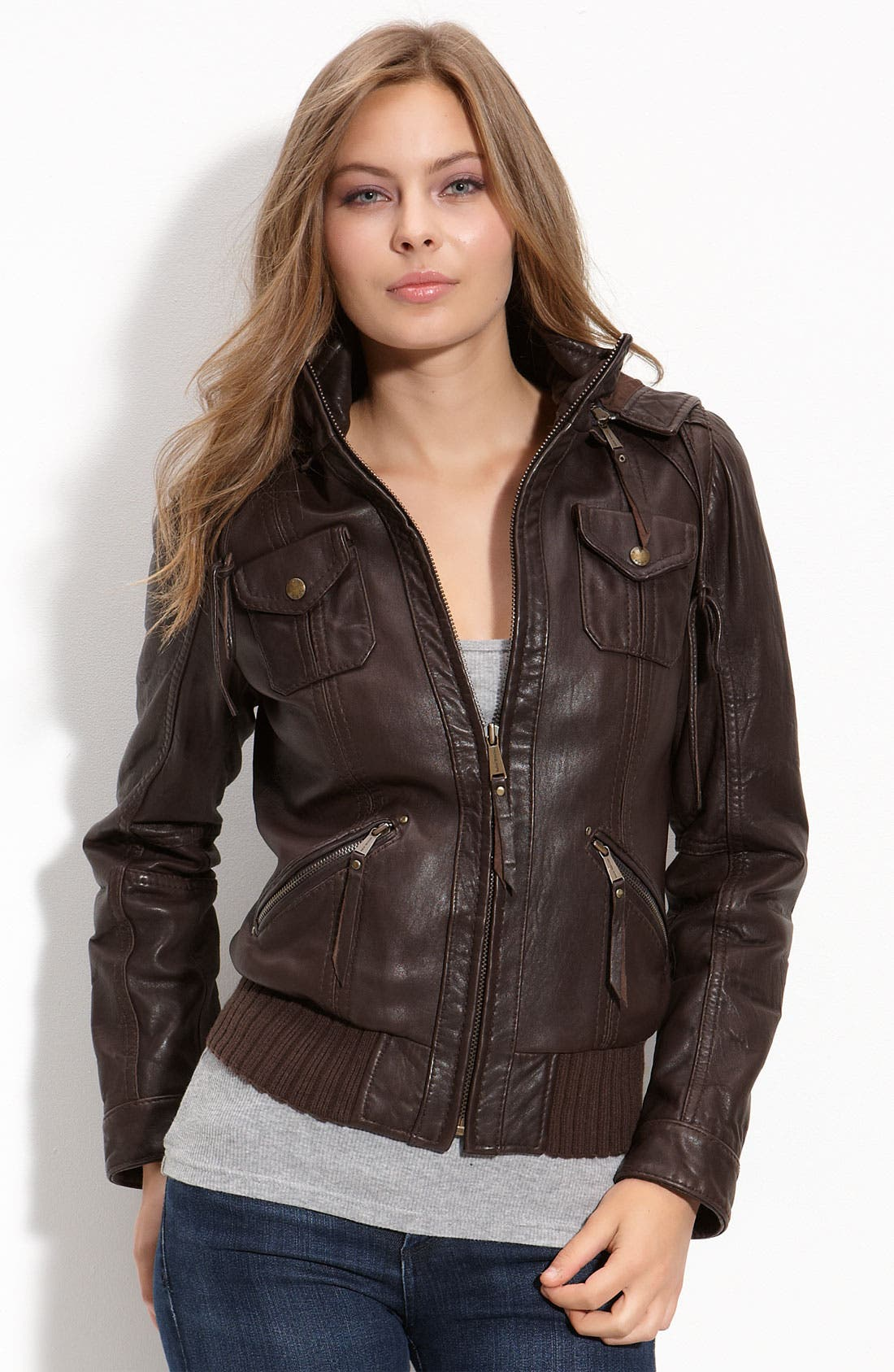 Alternate Image 1 Selected - MICHAEL Michael Kors Hooded Leather Bomber Jacket