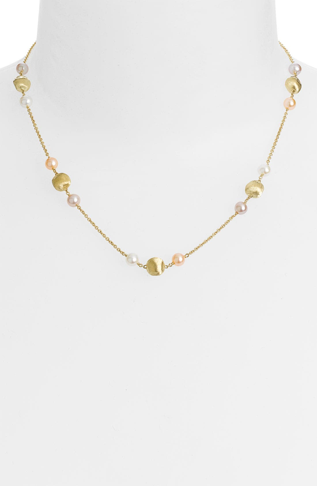 Alternate Image 1 Selected - Marco Bicego 'Africa Gold' Freshwater Pearl & Gold Station Necklace