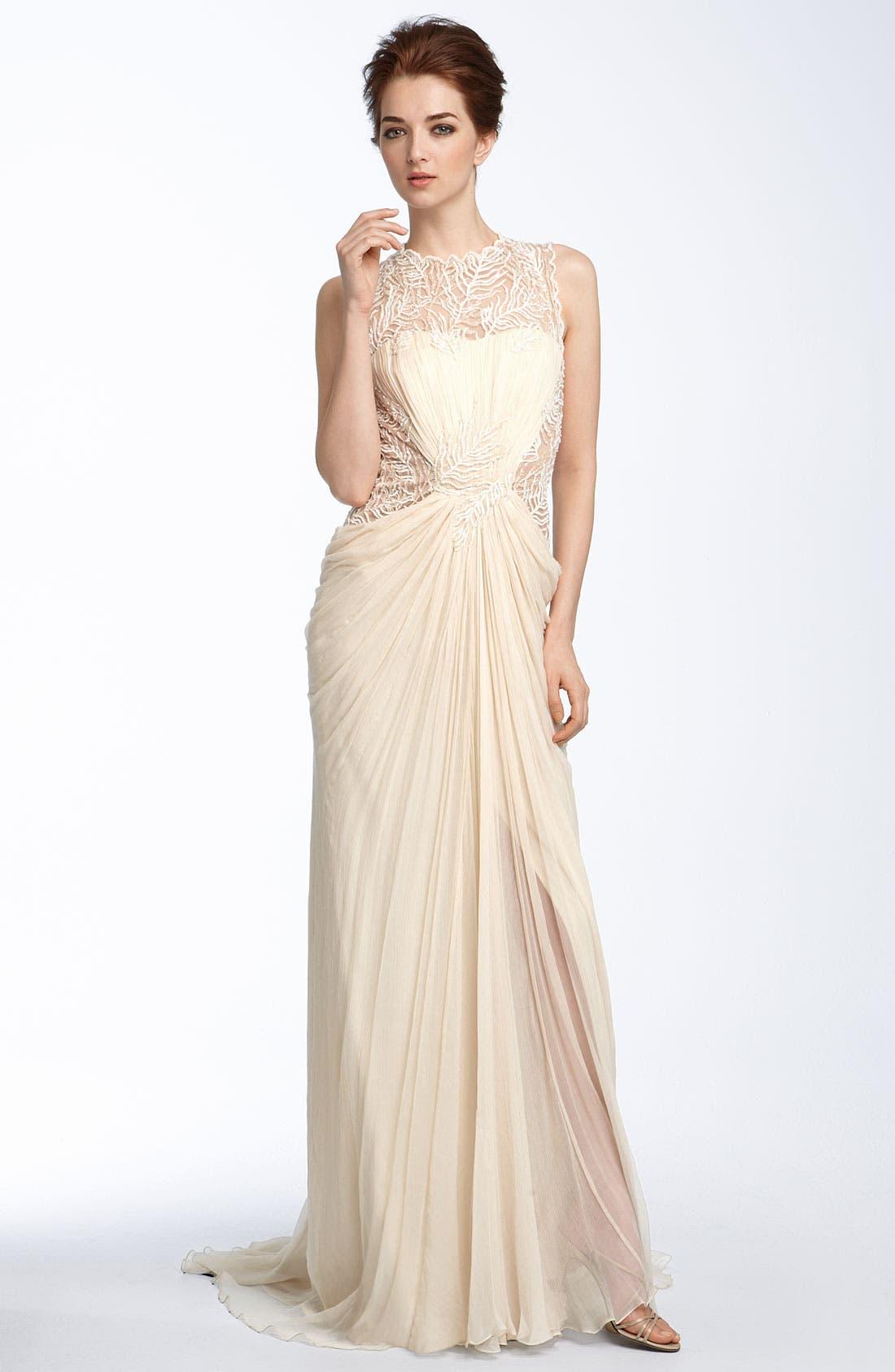 Alternate Image 1 Selected - Tadashi Shoji Lace & Chiffon Gown