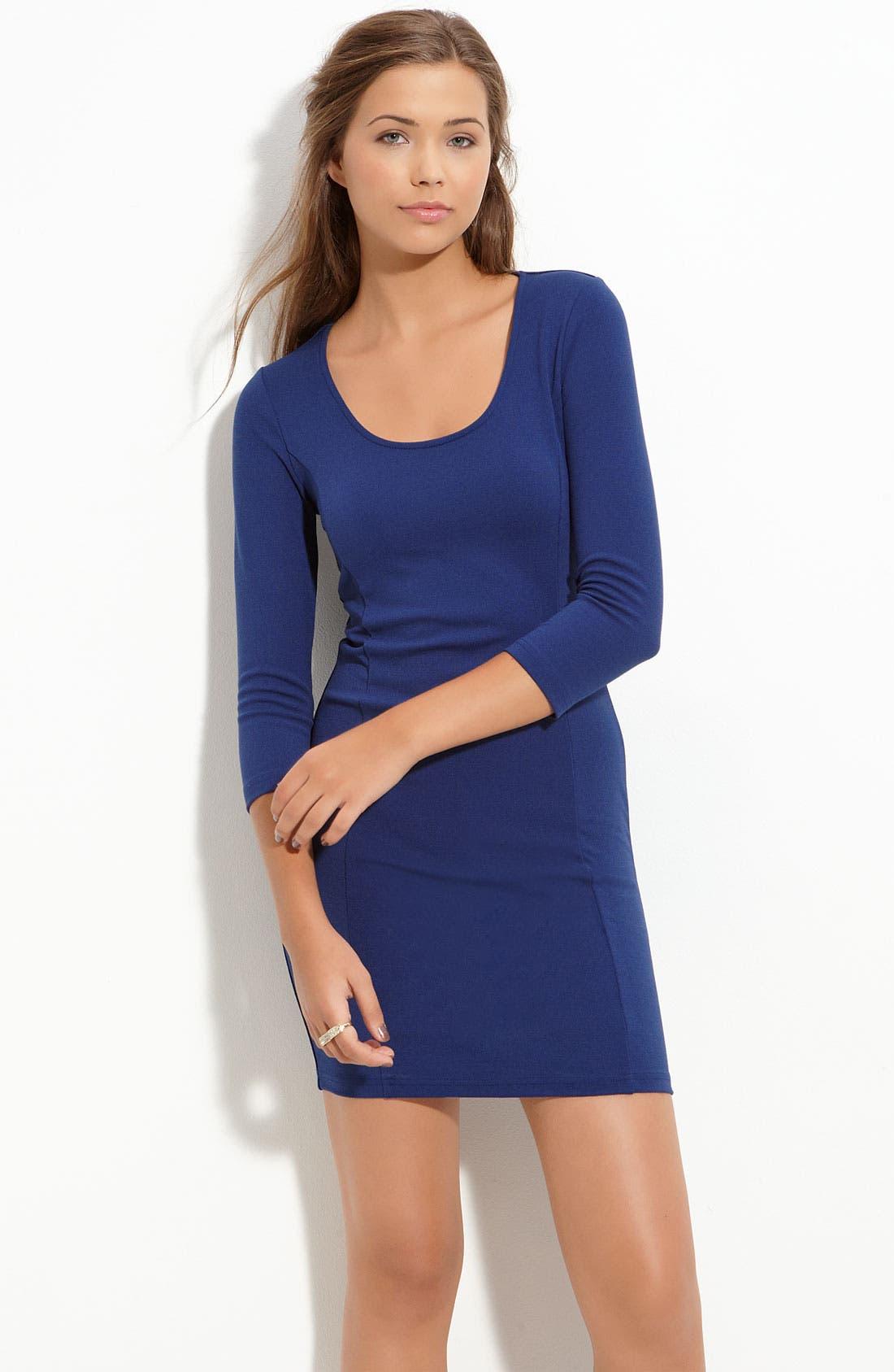Main Image - Frenchi® Back Cutout Knit Dress (Juniors)