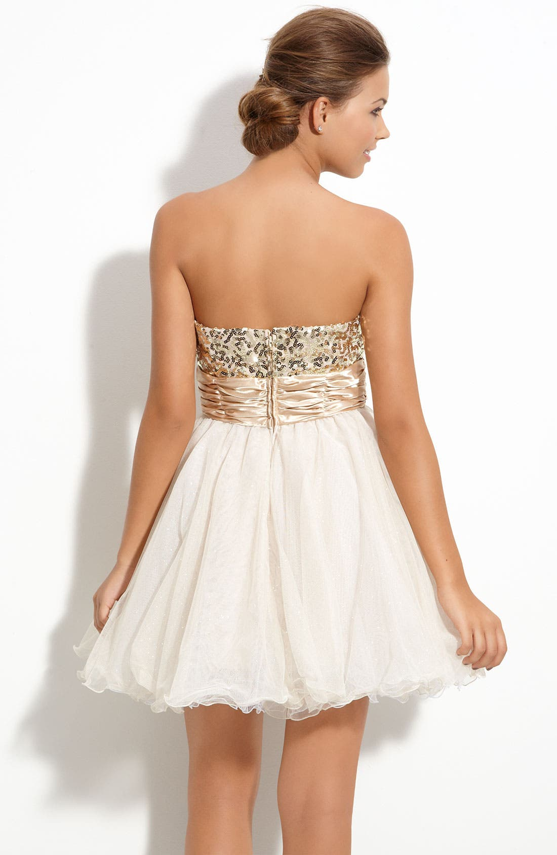 Alternate Image 2  - Accidentally In Love Sequin Strapless Party Dress (Juniors)
