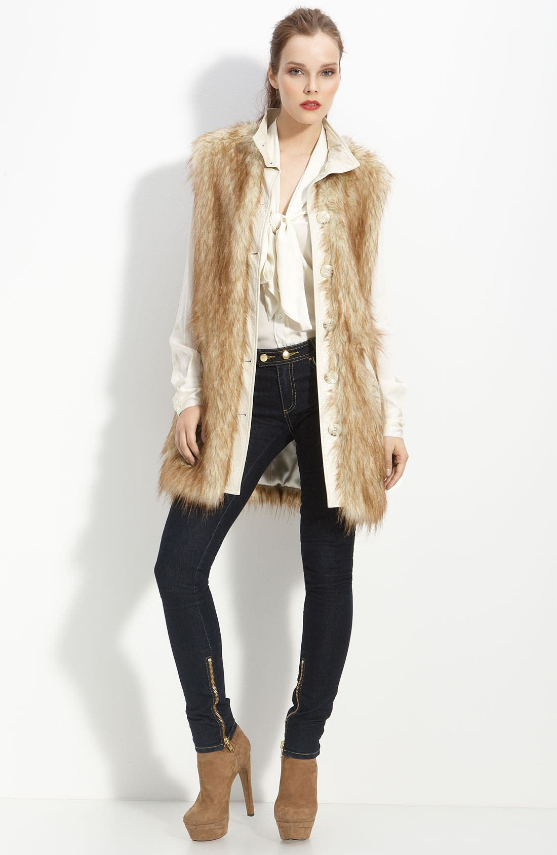 Alternate Image 1 Selected - Rachel Zoe Faux Fur Long Vest