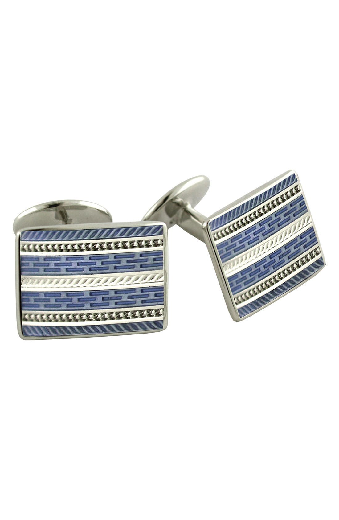 Alternate Image 1 Selected - David Donahue 'Blue' Rectangular Sterling Silver Cuff Links
