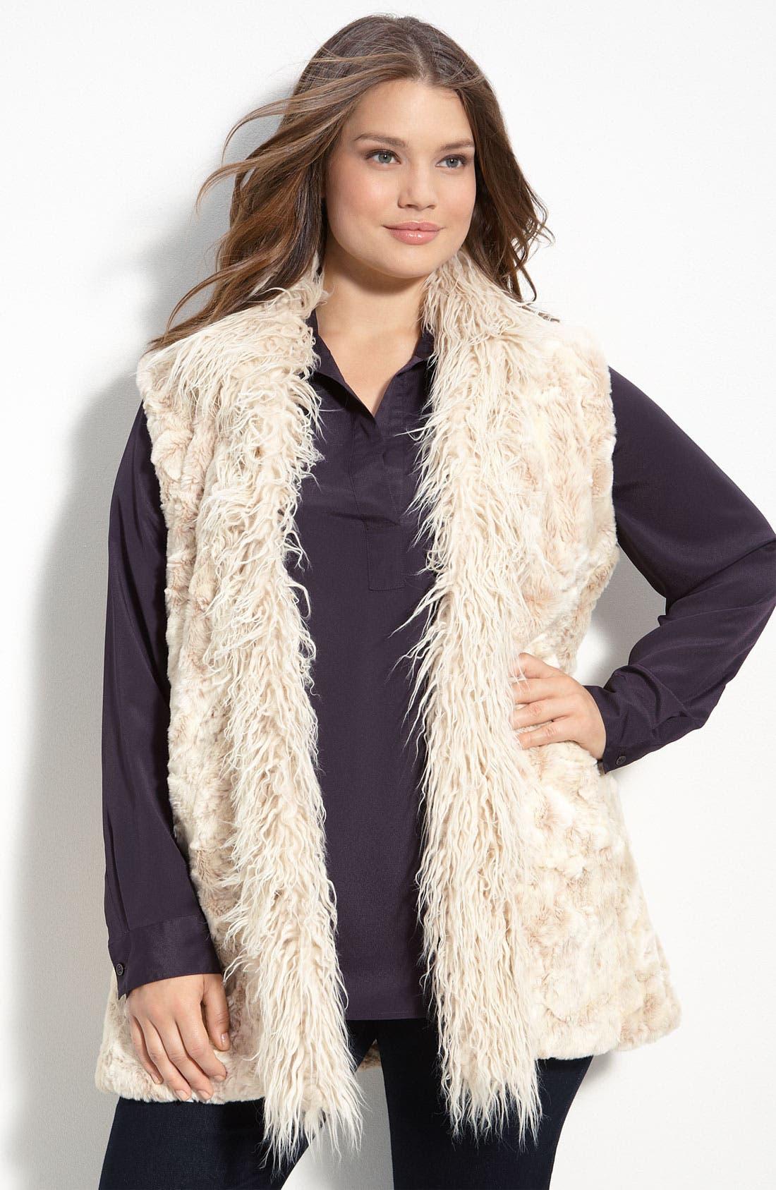 Alternate Image 1 Selected - Kristen Blake Faux Fur Vest (Plus)