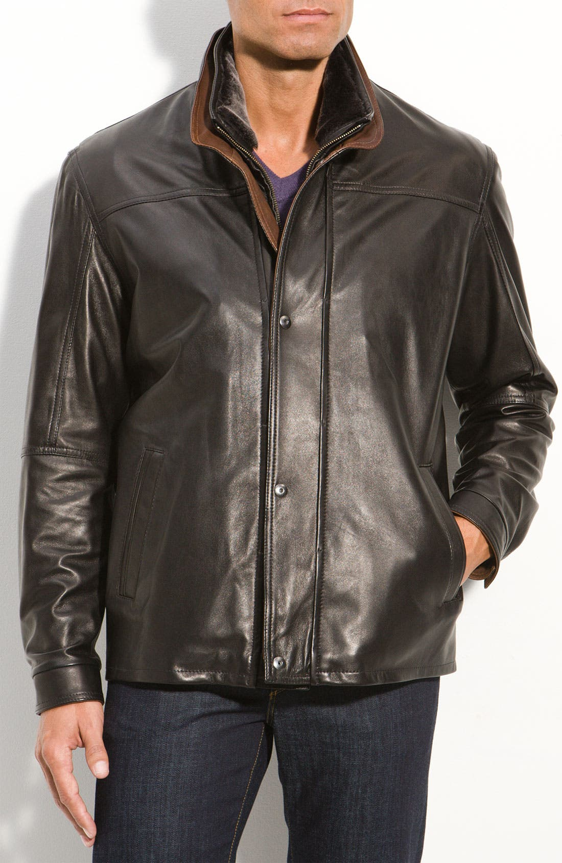 Alternate Image 1 Selected - Remy Leather Washed Lambskin Leather Jacket