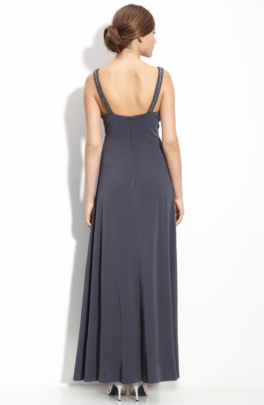 Alternate Image 2  - JS Boutique Beaded Ruched Jersey Gown