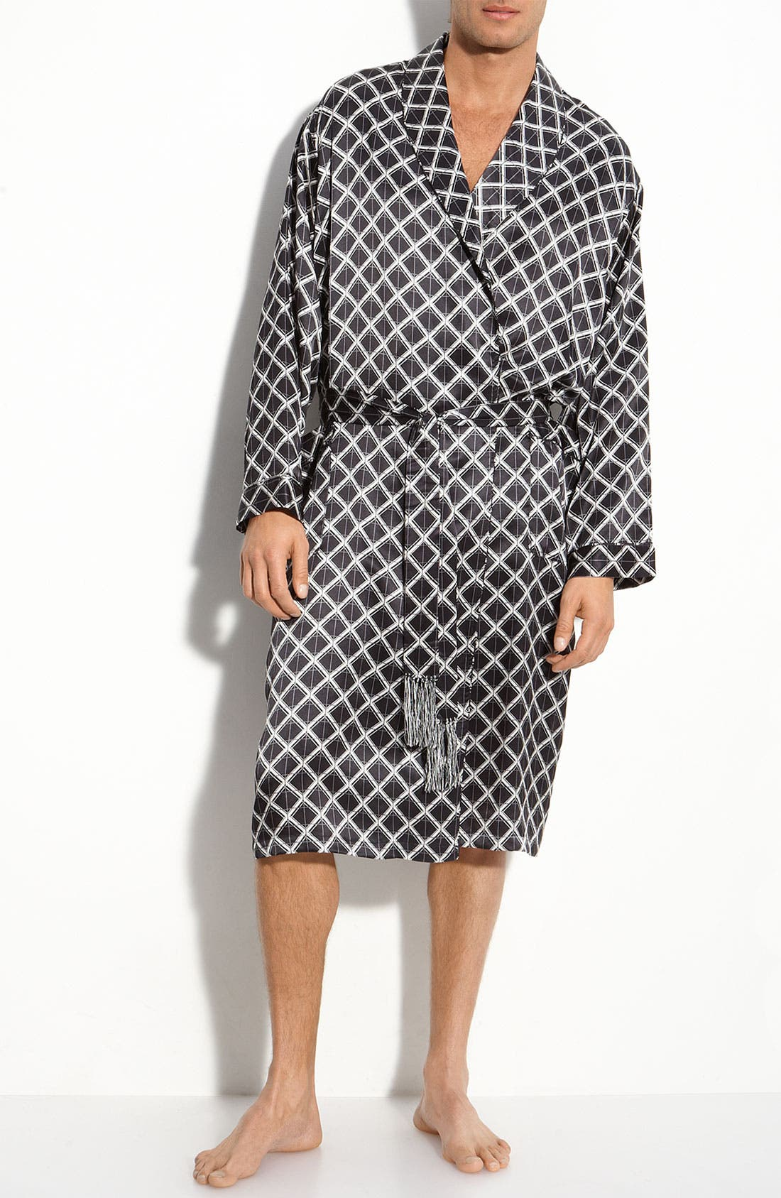 Alternate Image 1 Selected - Majestic International 'Ethan' Plaid Silk Robe