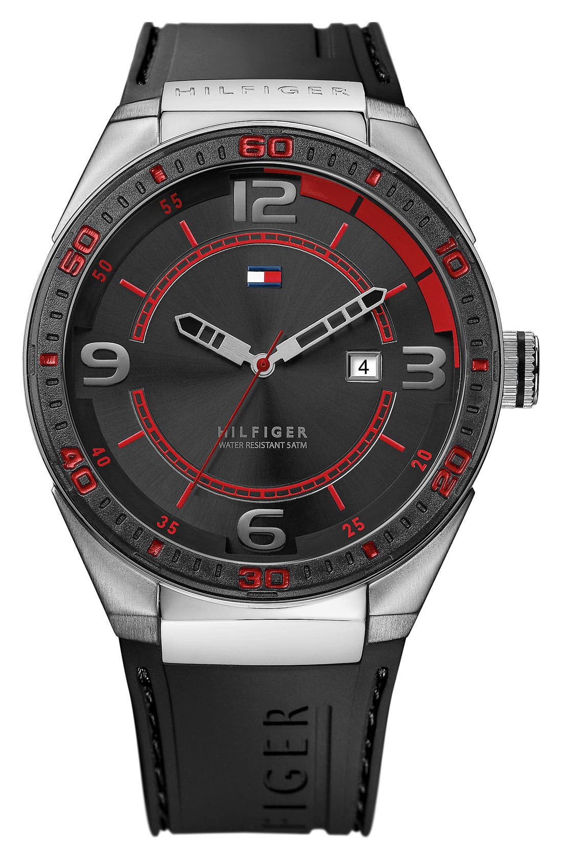 Alternate Image 1 Selected - Tommy Hilfiger Silicone Strap Watch, 47mm