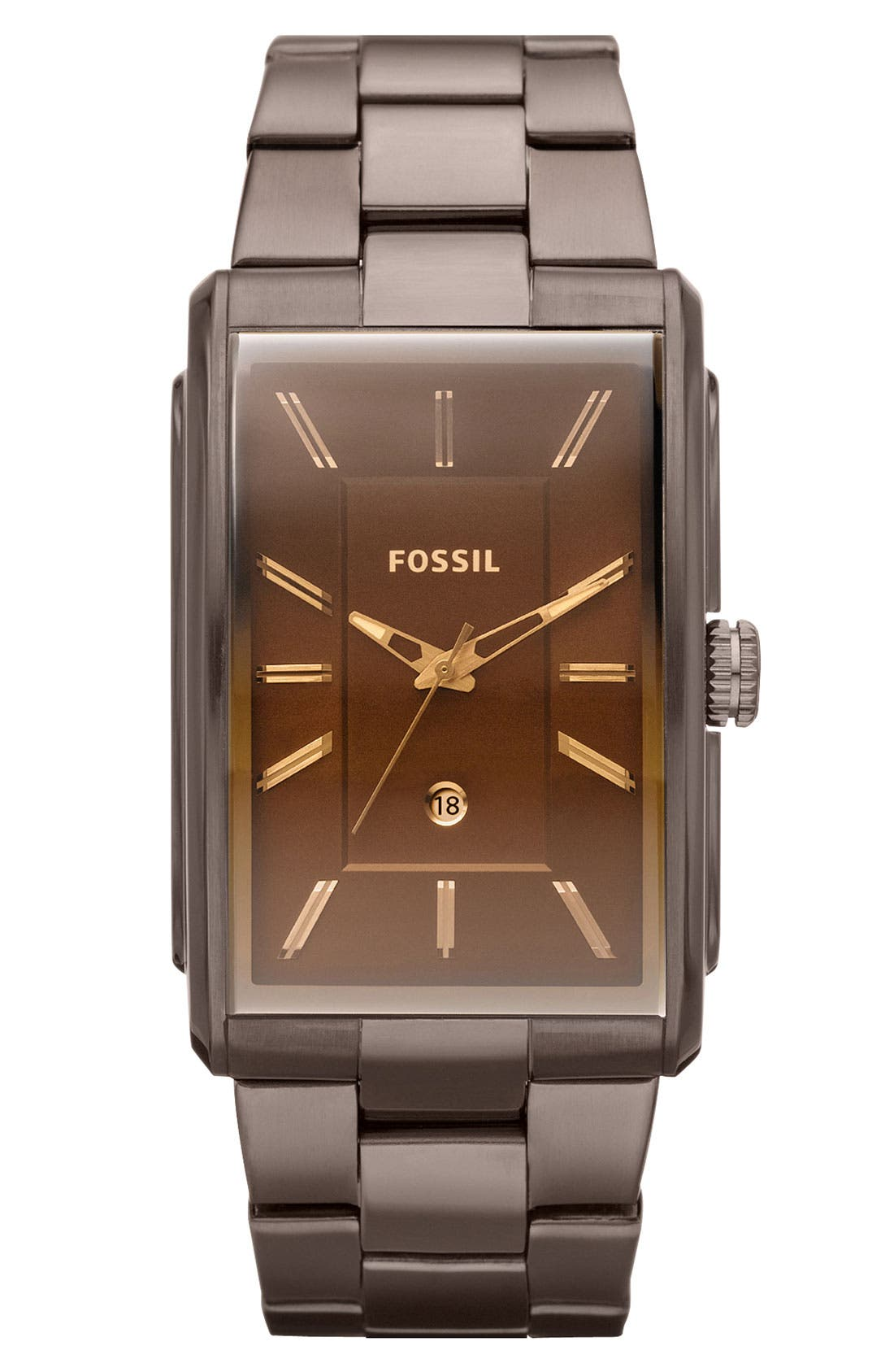 Alternate Image 1 Selected - Fossil 'Heritage' Rectangular Bracelet Watch, 33mm x 49mm