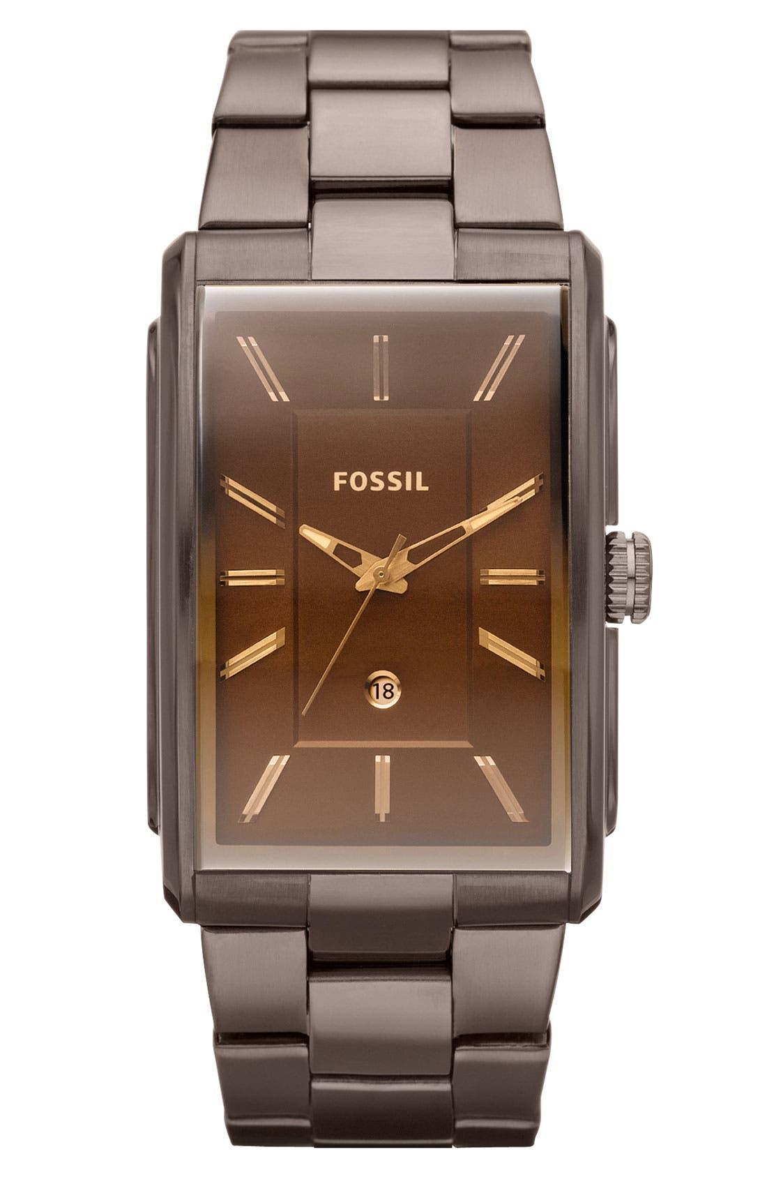 Main Image - Fossil 'Heritage' Rectangular Bracelet Watch, 33mm x 49mm