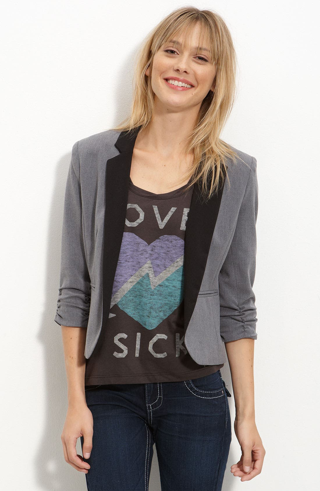 Main Image - Necessary Objects Contrast Lapel Cropped Blazer