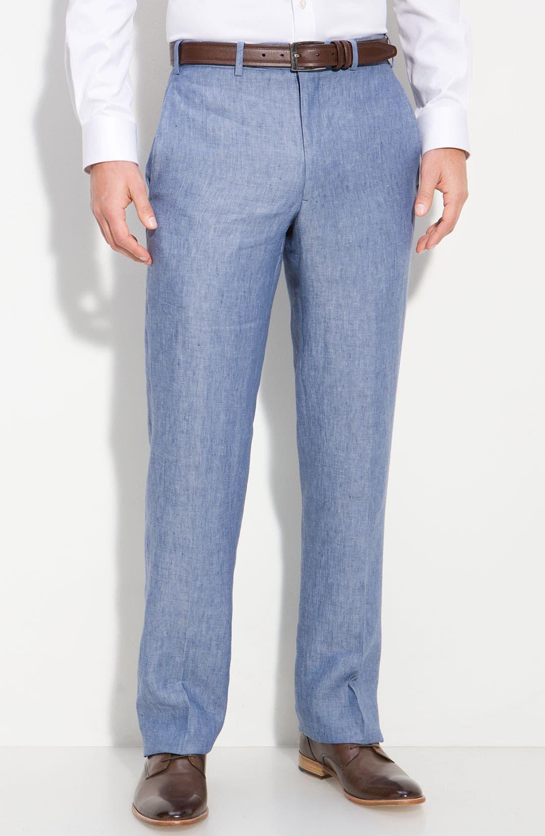 Main Image - Di Milano Uomo 'Torino' Flat Front Linen Pants