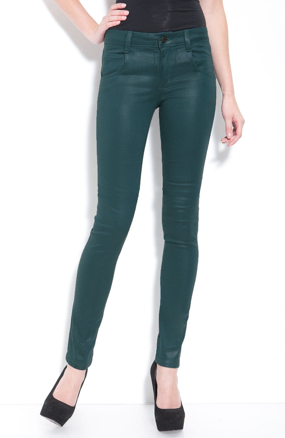 Alternate Image 2  - Joe's Coated Skinny Stretch Jeans (Teal Wash)