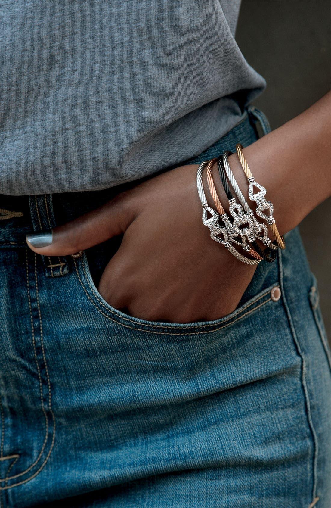 Alternate Image 2  - ALOR® Double Bar Diamond Knot Bangle
