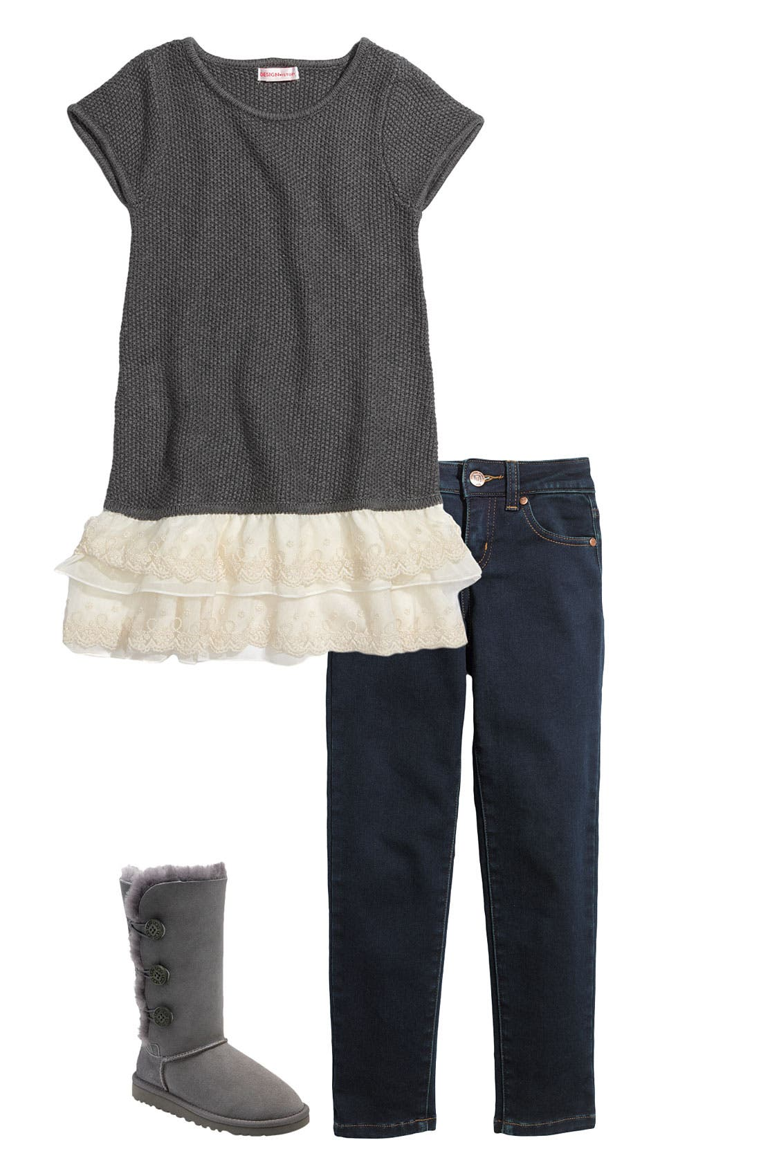 Main Image - Design History Sweater Dress & Tractor Leggings (Little Girls)