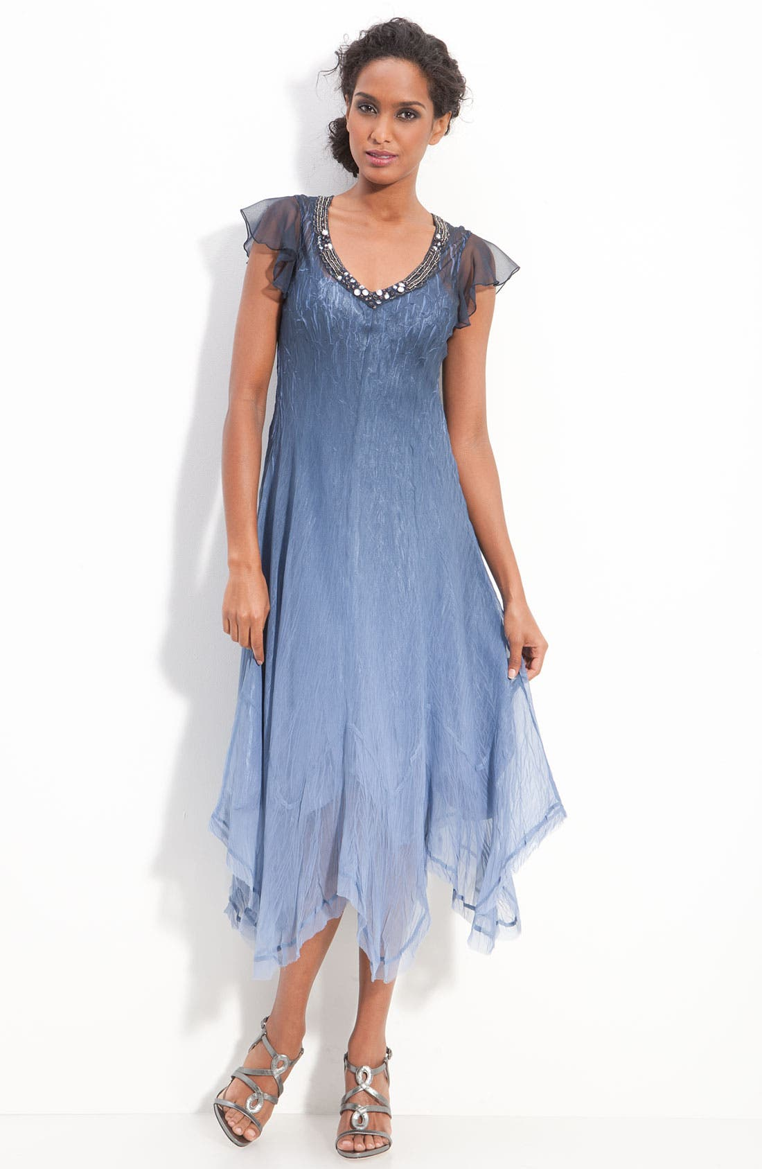 Main Image - Komarov Beaded Chiffon Flutter Sleeve Dress