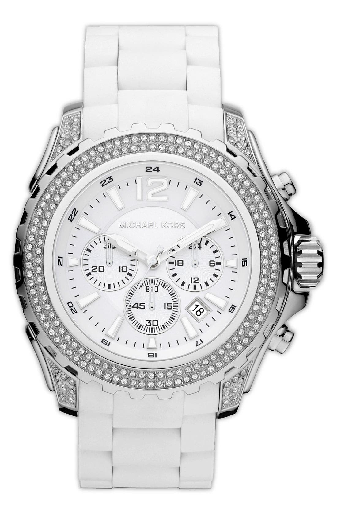Alternate Image 1 Selected - Michael Kors 'Drake' Silicone Bracelet Watch