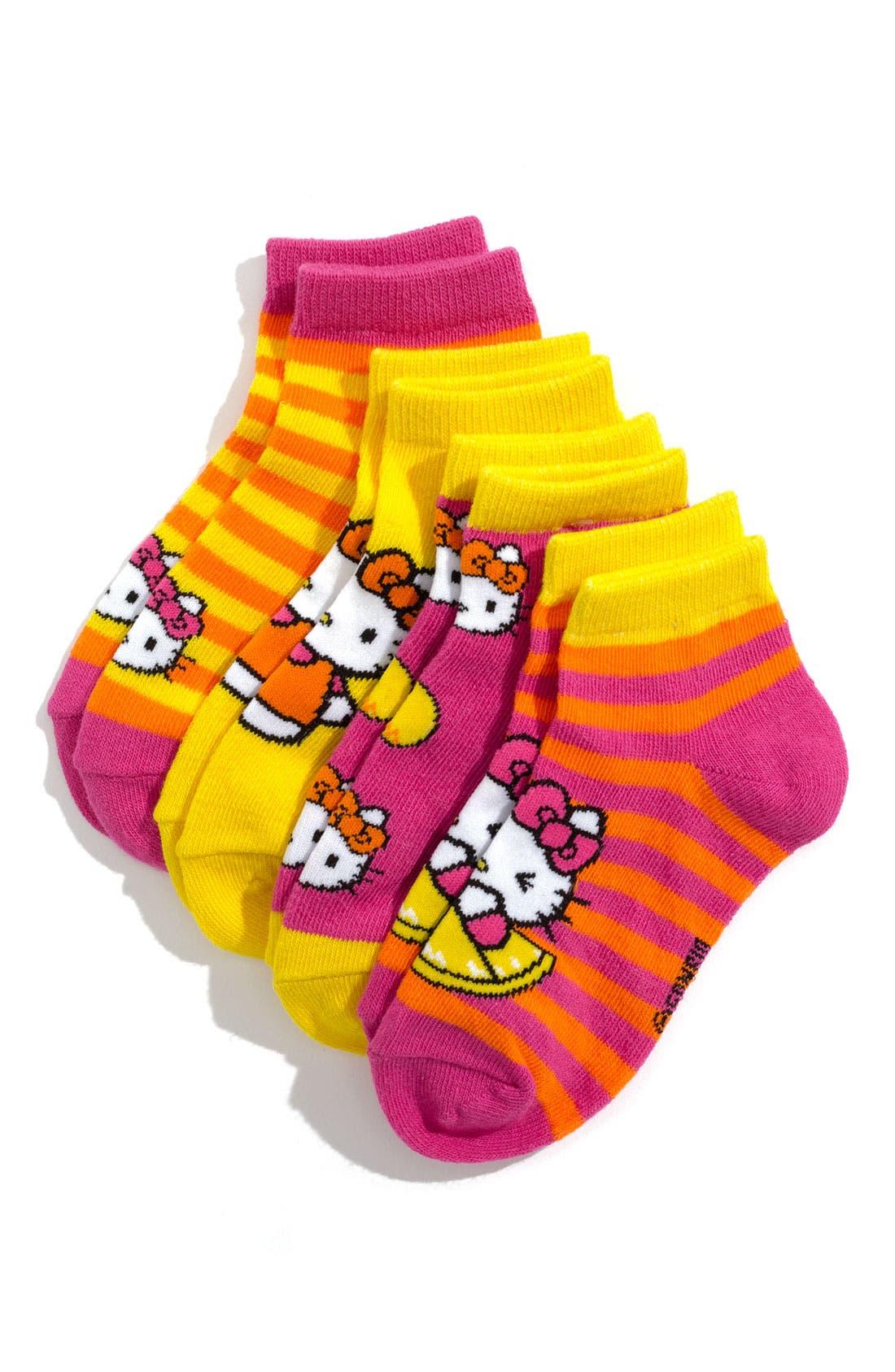 Alternate Image 1 Selected - Hello Kitty® 'Lemon' Quarter Length Socks (5-Pack) (Toddler, Little Girls & Big Girls)
