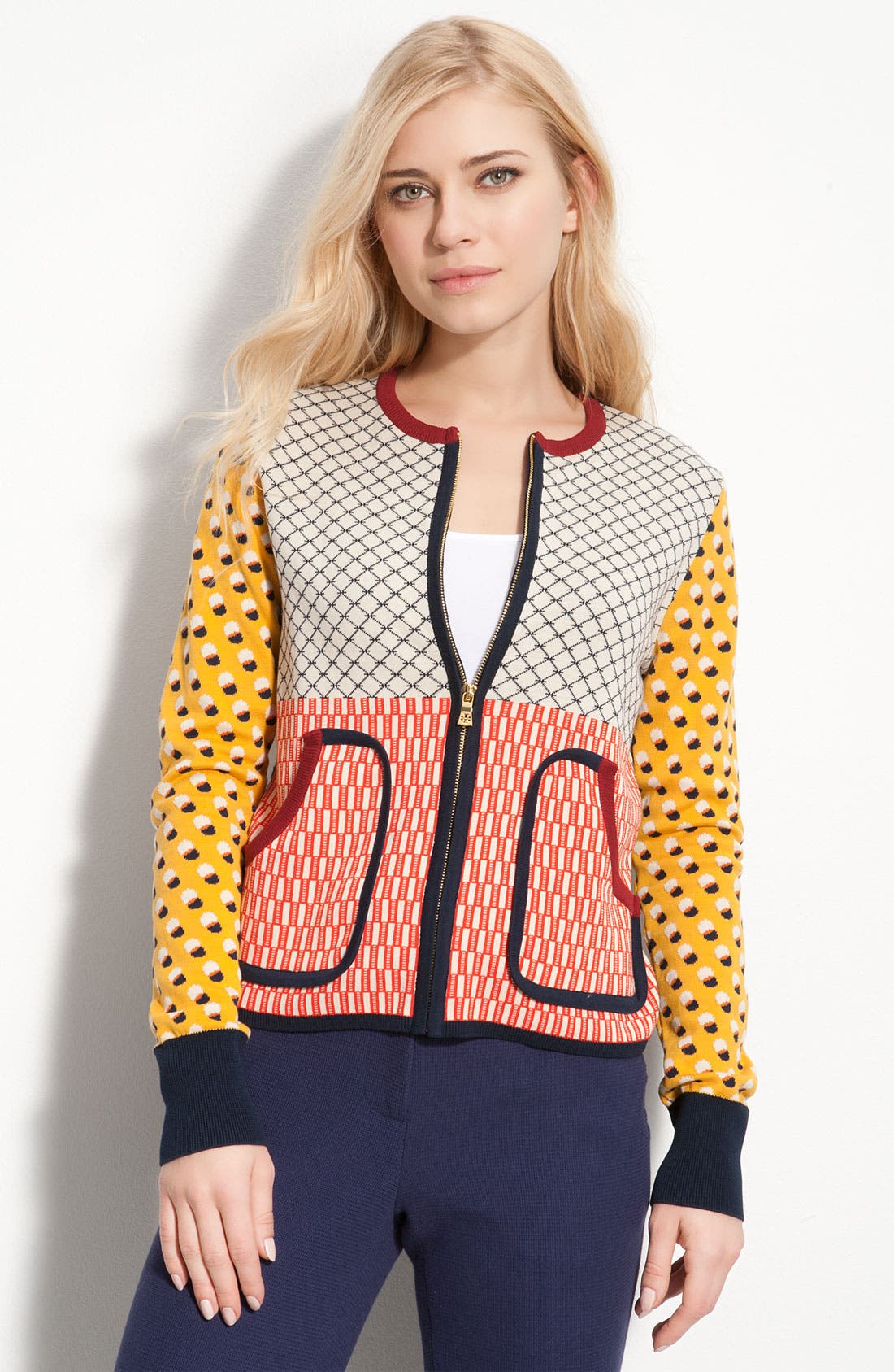 Main Image - Tory Burch 'Aldwyn' Zip Front Mixed Print Cardigan