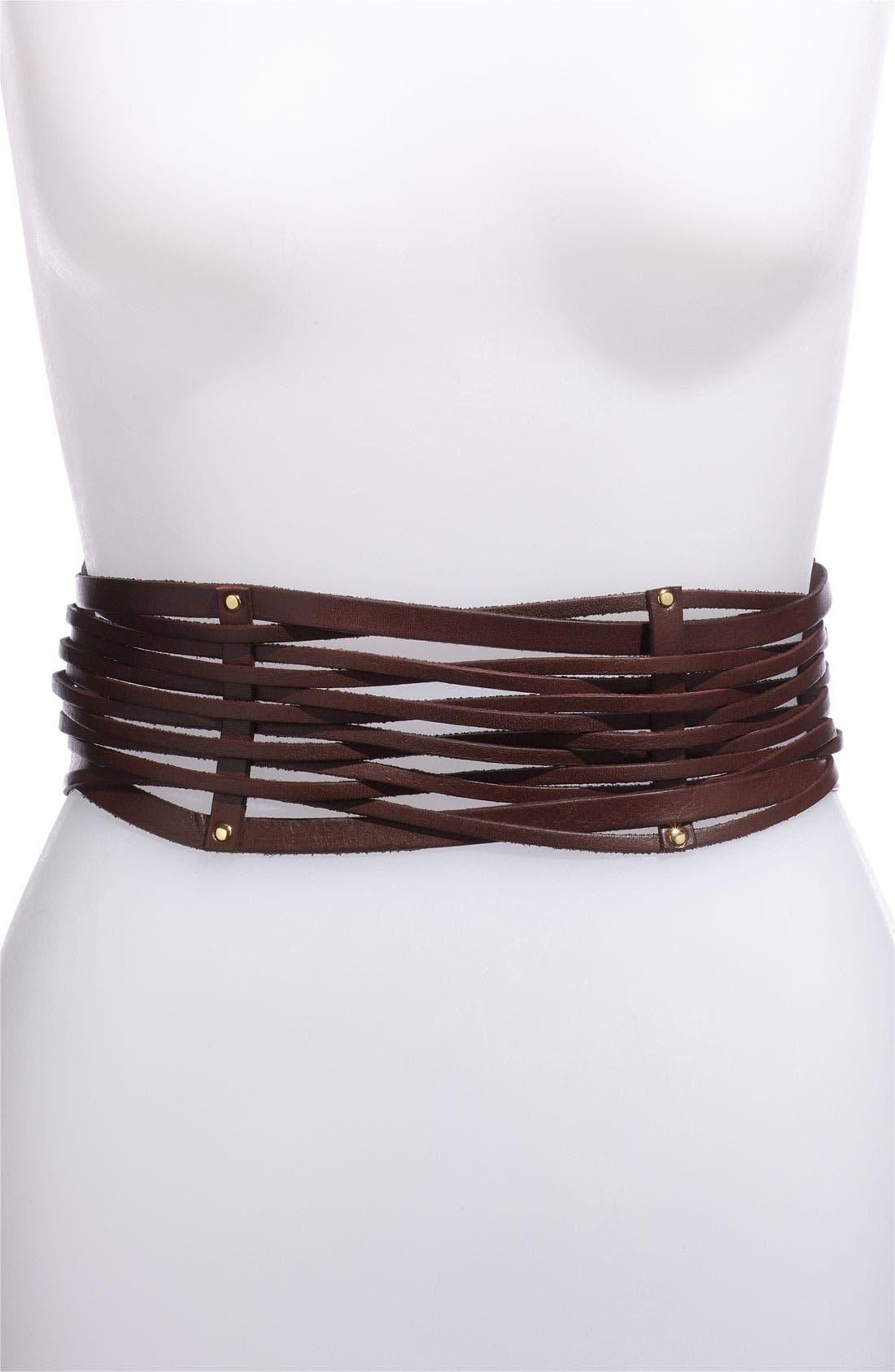 Alternate Image 1 Selected - Vince Camuto Leather Strand Stretch Belt