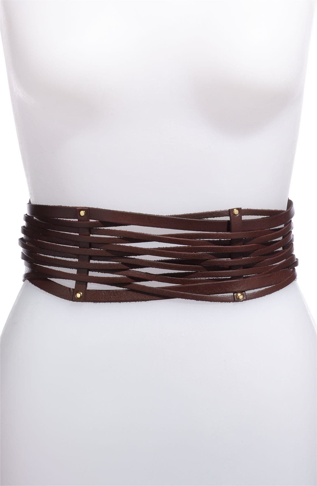 Main Image - Vince Camuto Leather Strand Stretch Belt