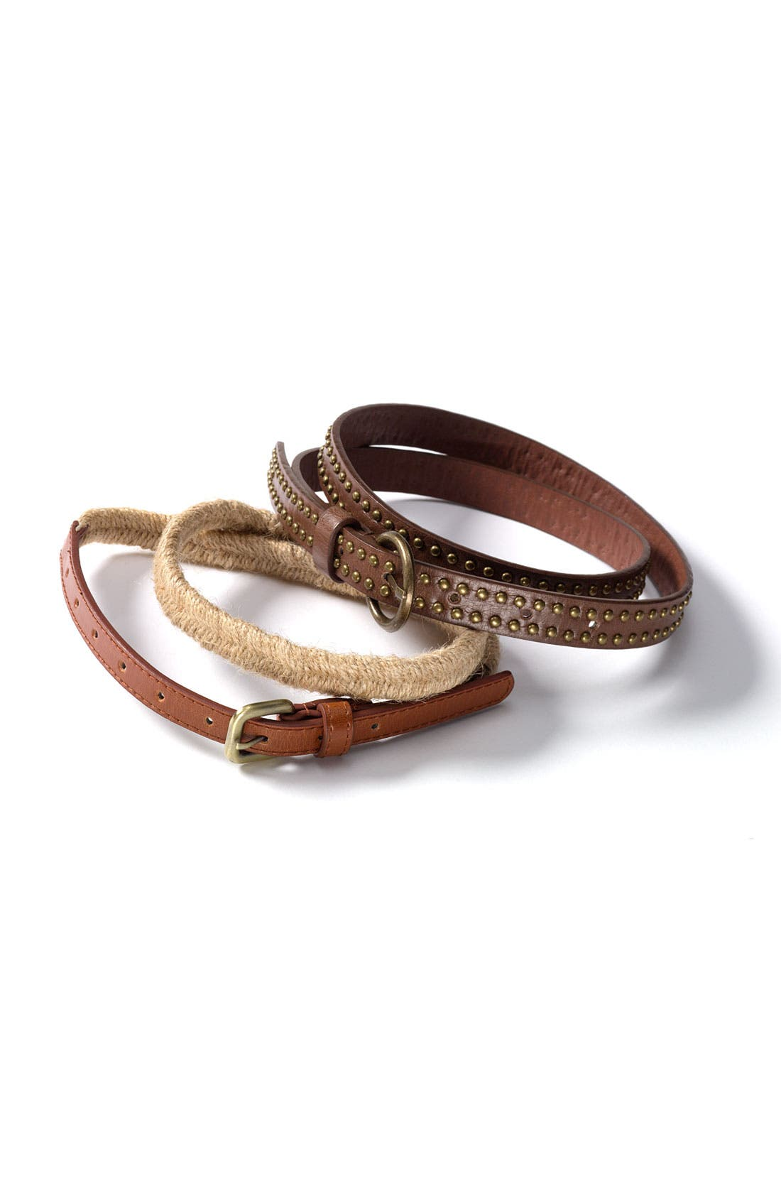 Alternate Image 4  - Lulu Studded Faux Leather & Stretch Rope Belts (2-Pack)