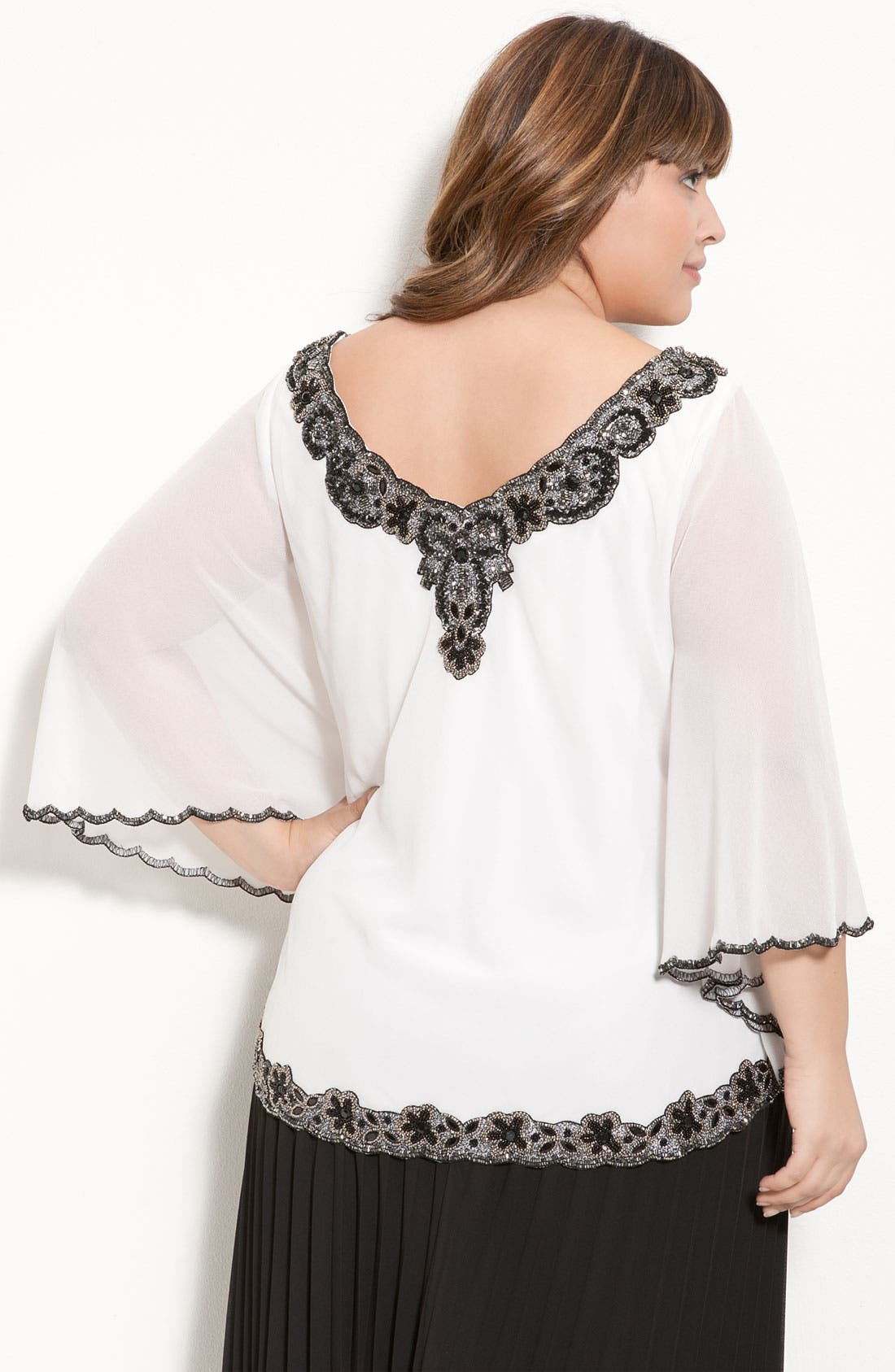 Alternate Image 2  - J Kara Beaded Sheer Sleeve Top (Plus)