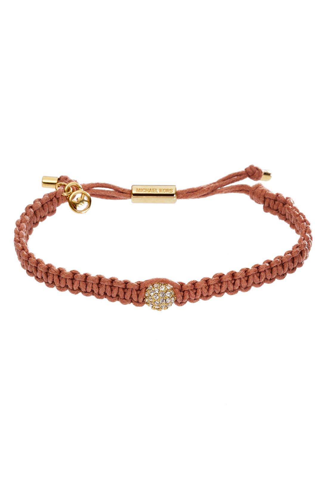 Alternate Image 1 Selected - Michael Kors 'Safari Glam' Adjustable Leather Cord Bracelet