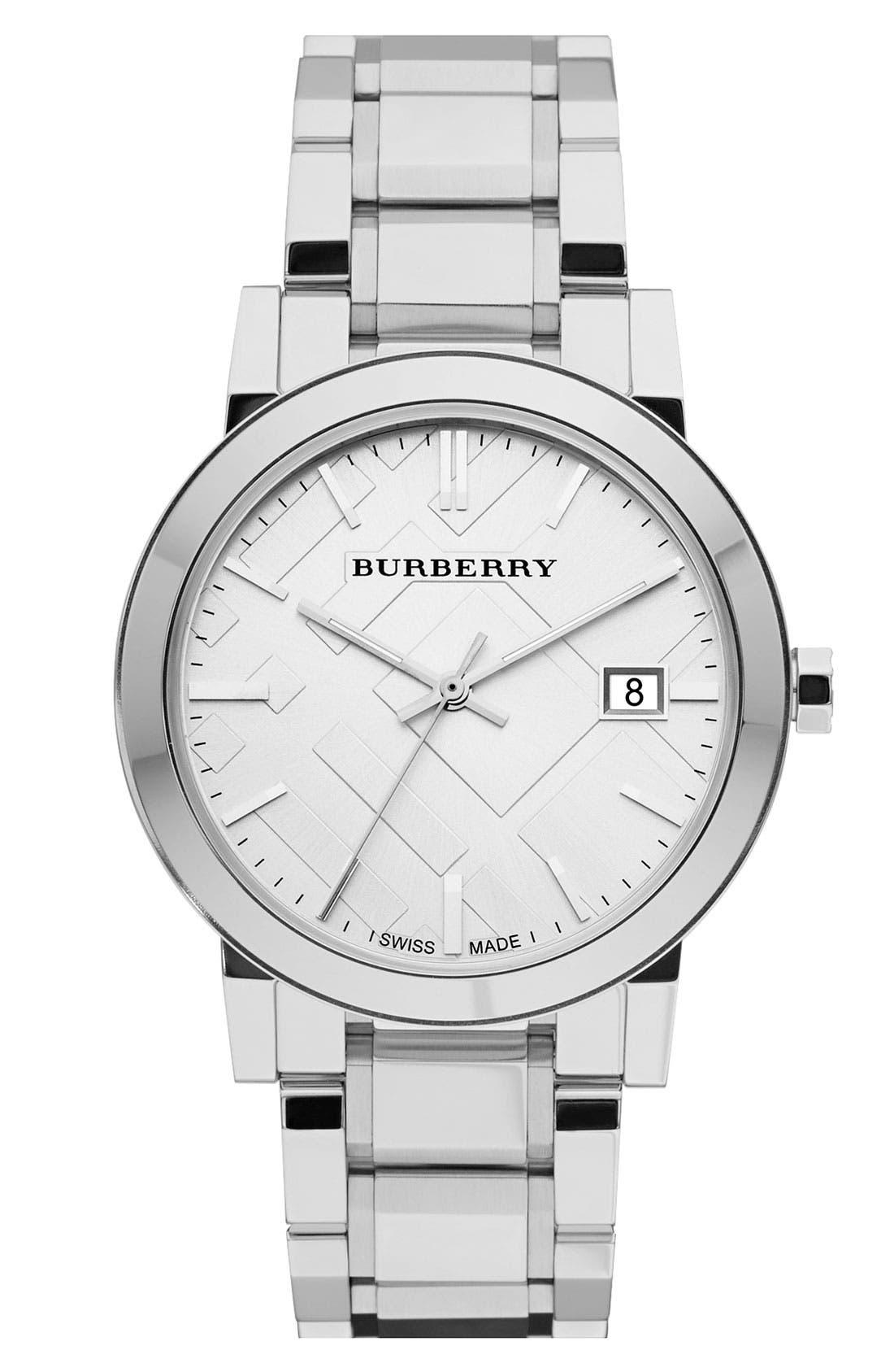 Main Image - Burberry Large Check Stamped Bracelet Watch, 38mm